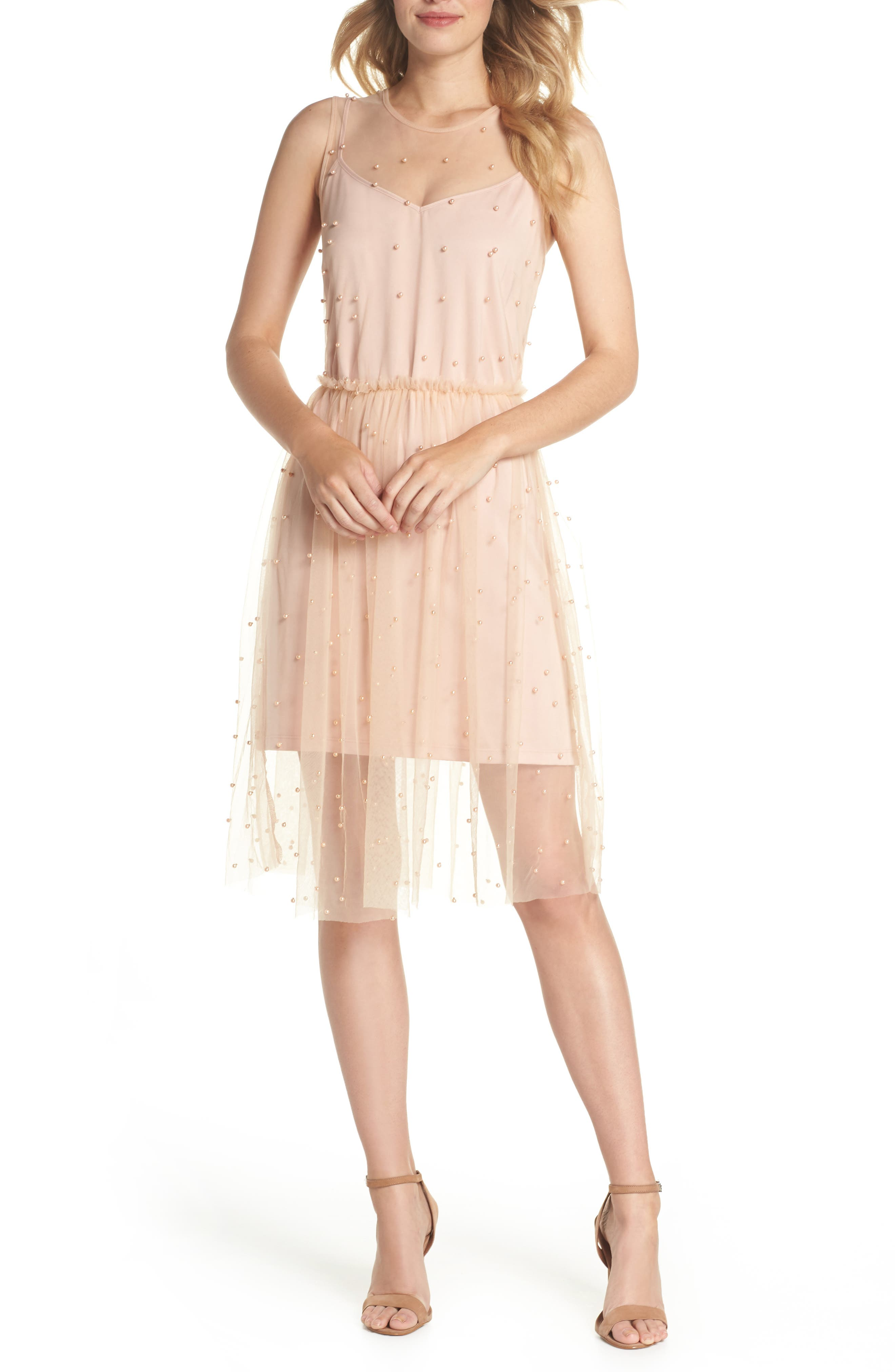 Imitation Pearl & Tulle Dress,                         Main,                         color, Blush