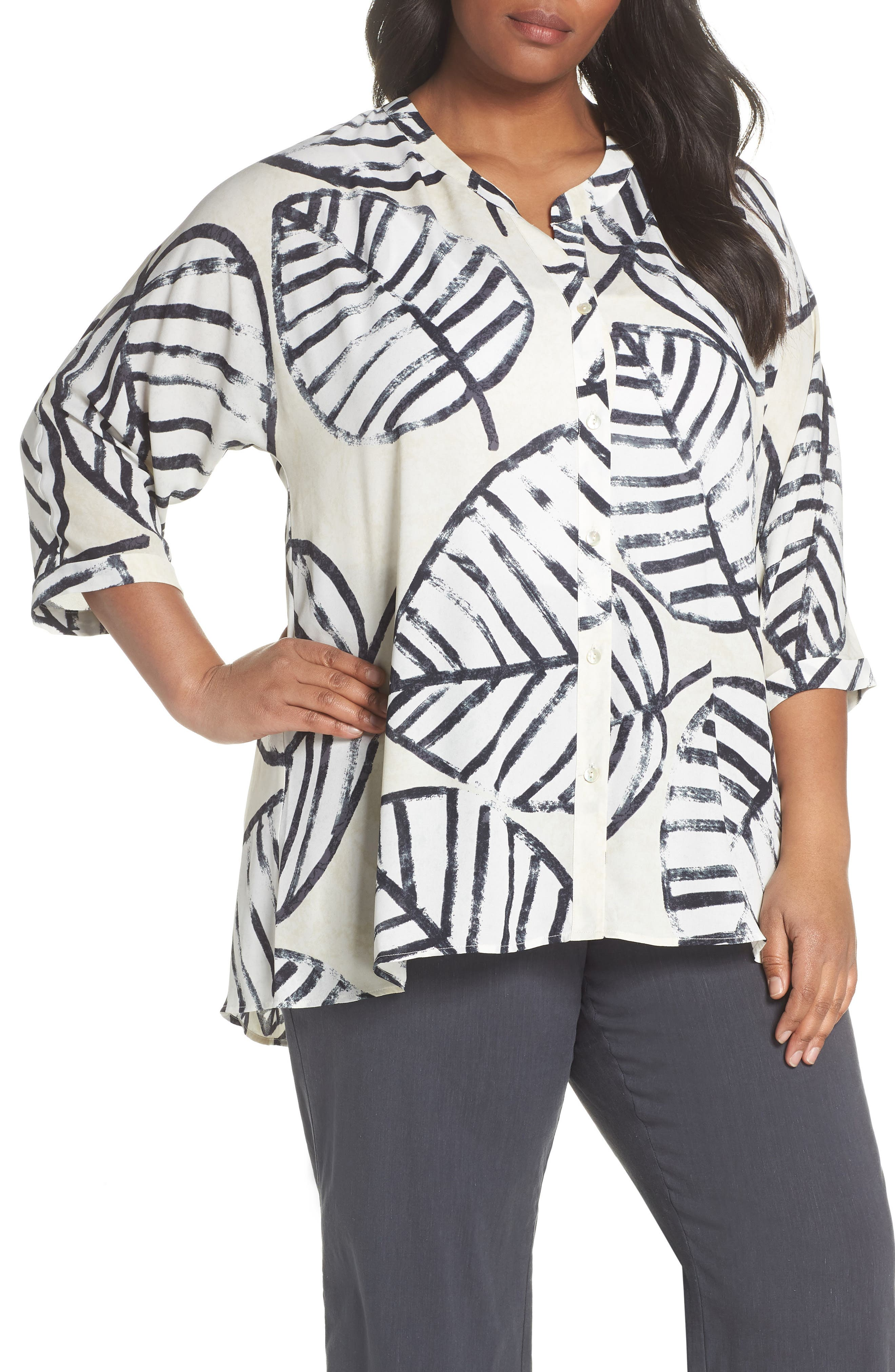 NIC+ZOE Etched Leaves Top (Plus Size)