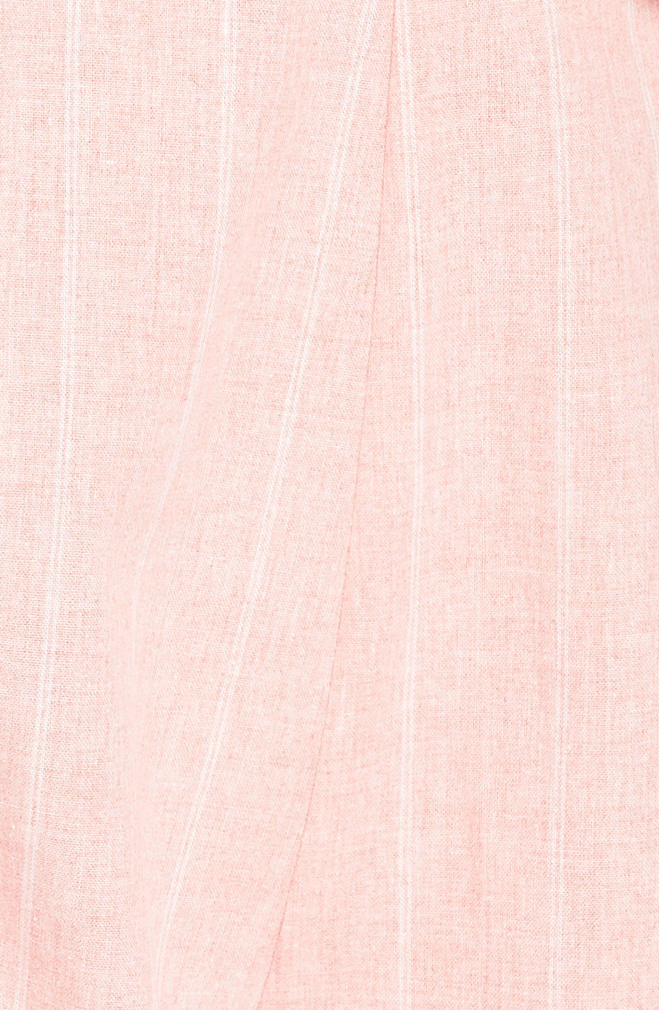 Frill Shoulder Stripe Jumpsuit,                             Alternate thumbnail 7, color,                             Pink