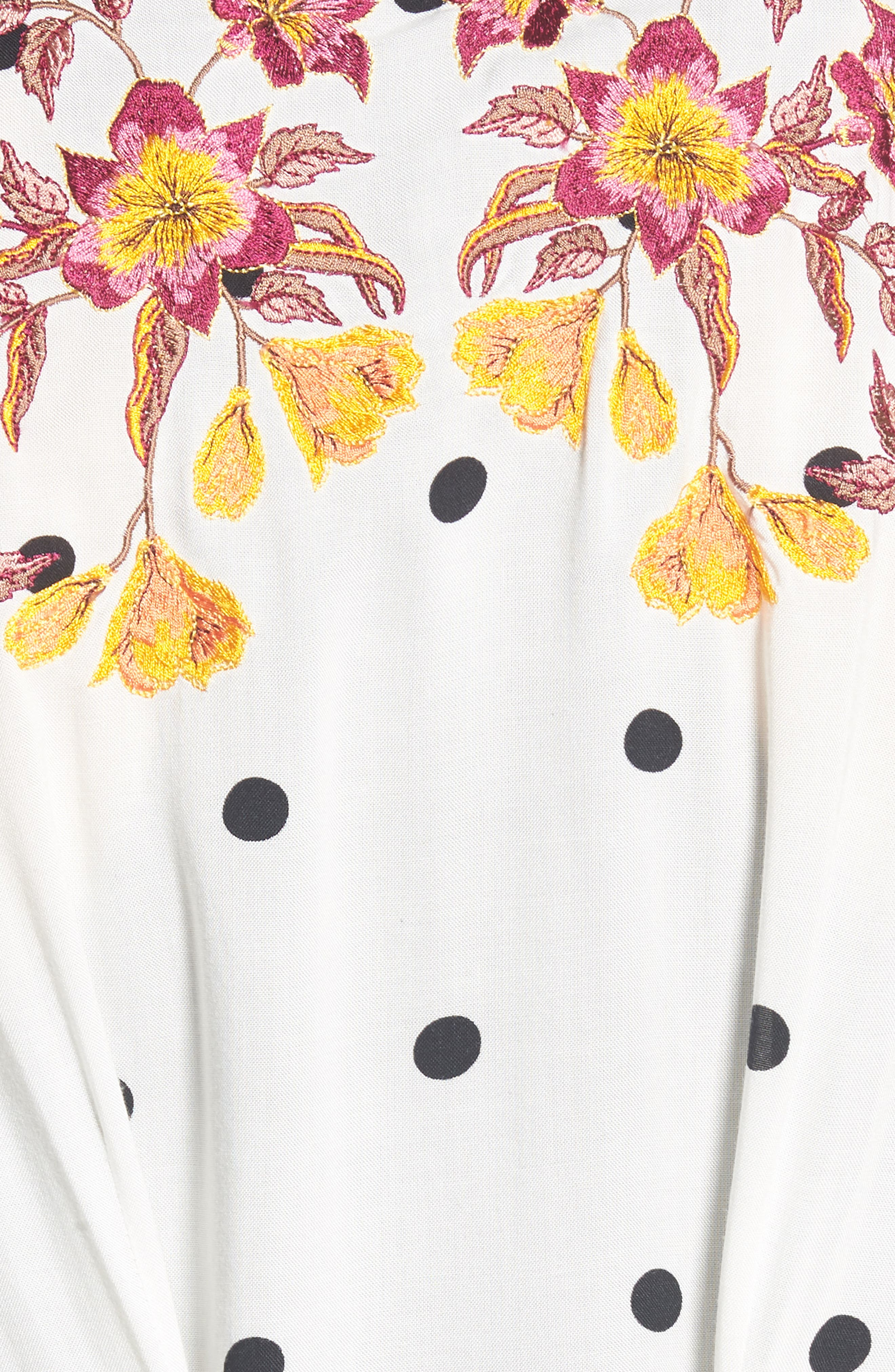 Hot Spot Kimono,                             Alternate thumbnail 5, color,                             Black/ White Polka Dot Print