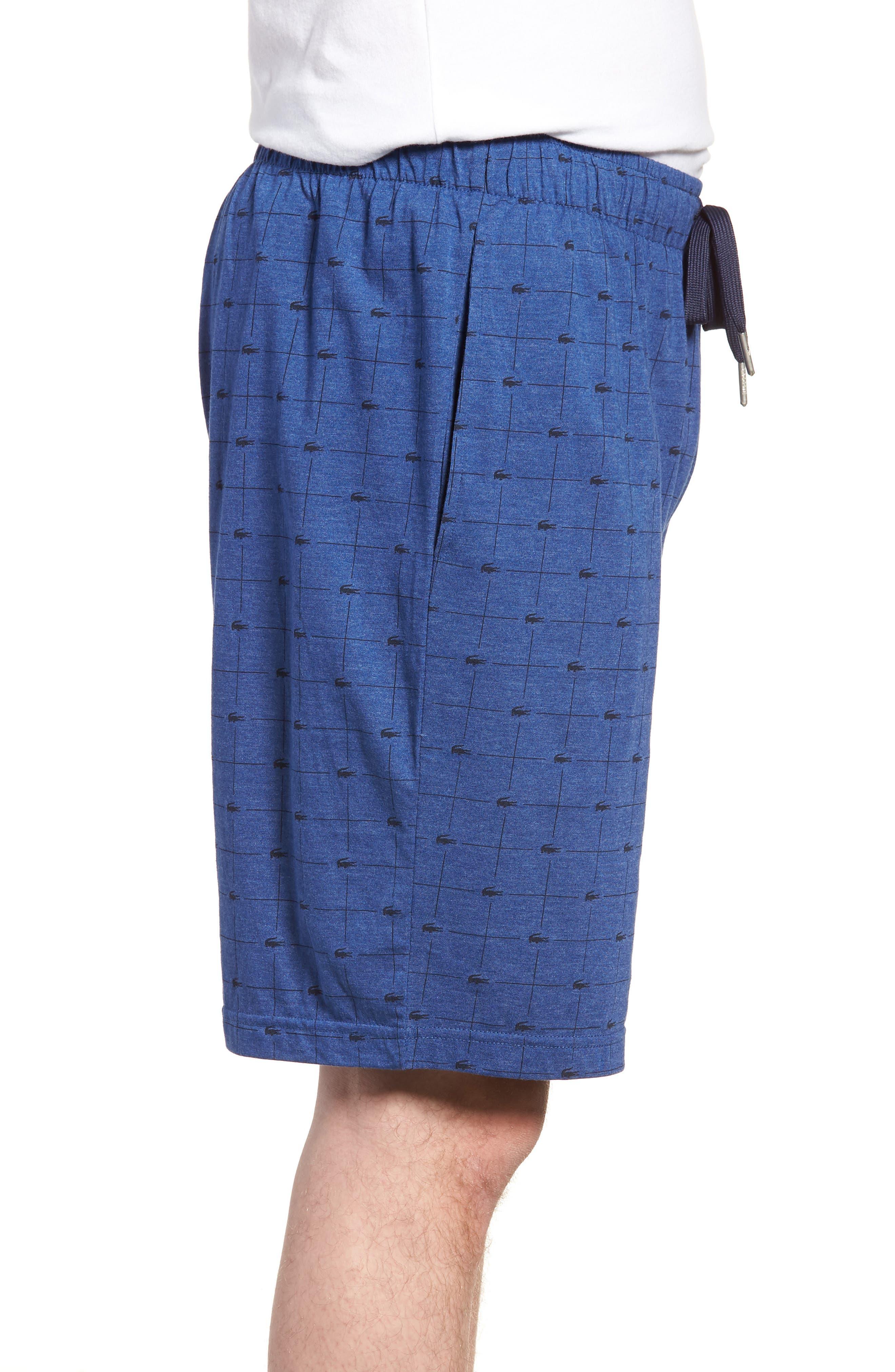 Knit Cotton Lounge Shorts,                             Alternate thumbnail 3, color,                             Classic Blue