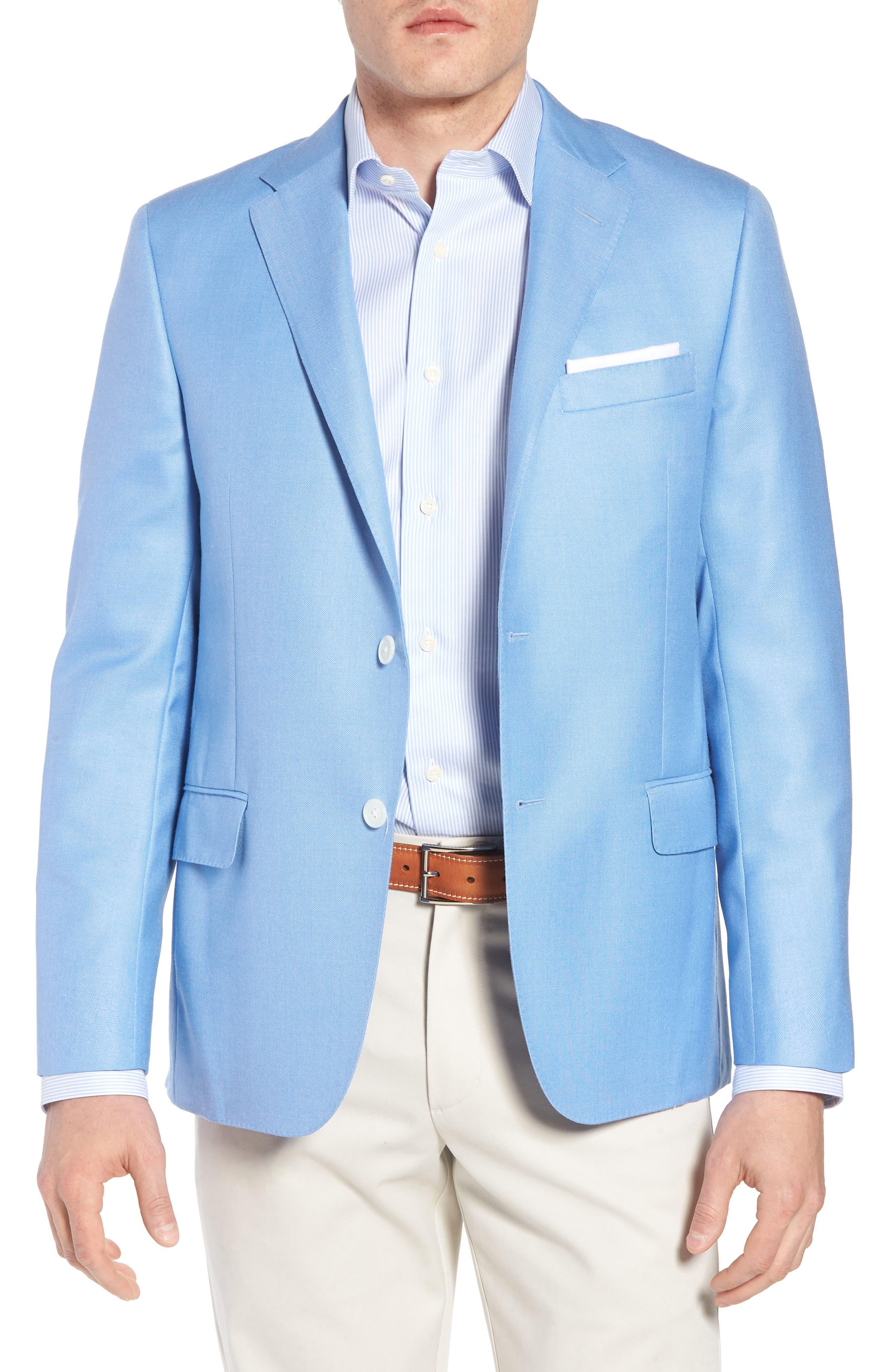 Classic B Fit Wool & Silk Blazer,                             Main thumbnail 1, color,                             Light Blue Solid