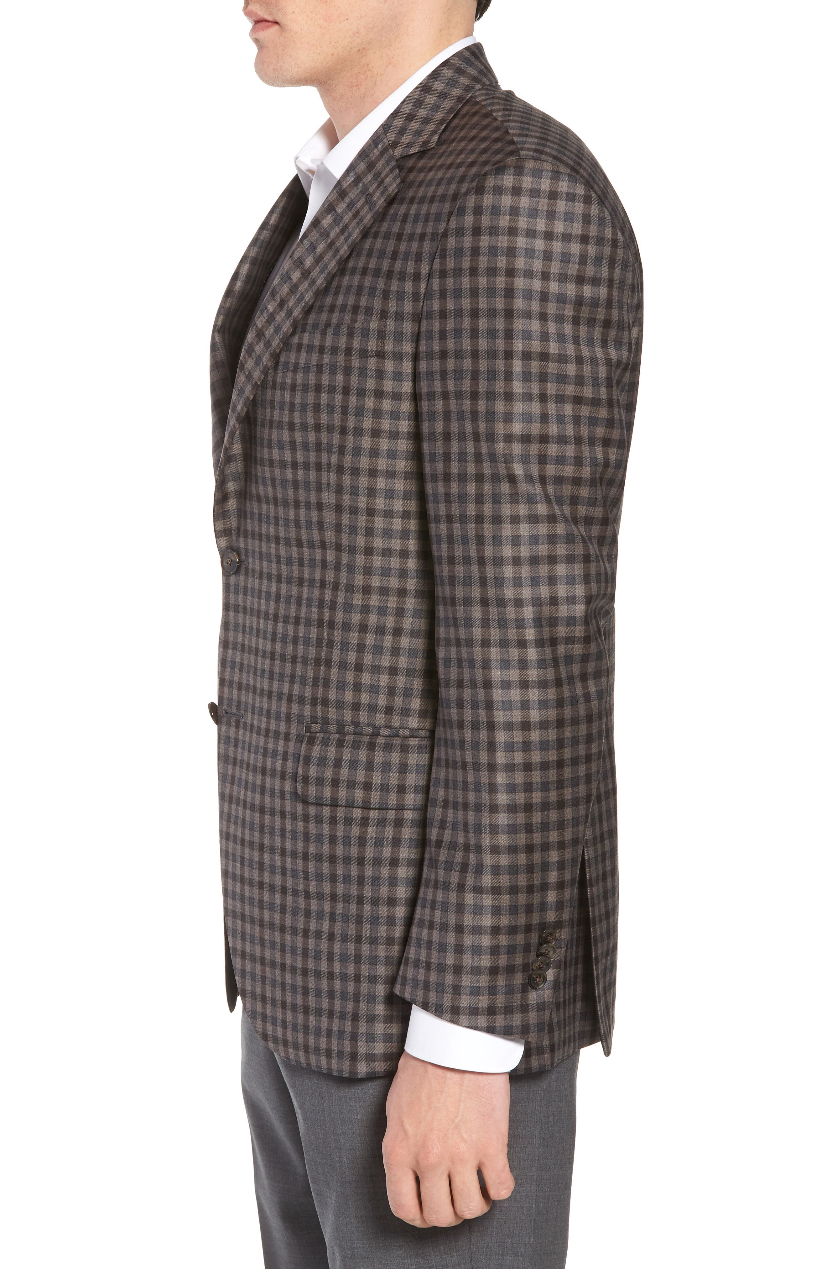 Classic Fit Check Wool Sport Coat,                             Alternate thumbnail 3, color,                             Brown/Grey