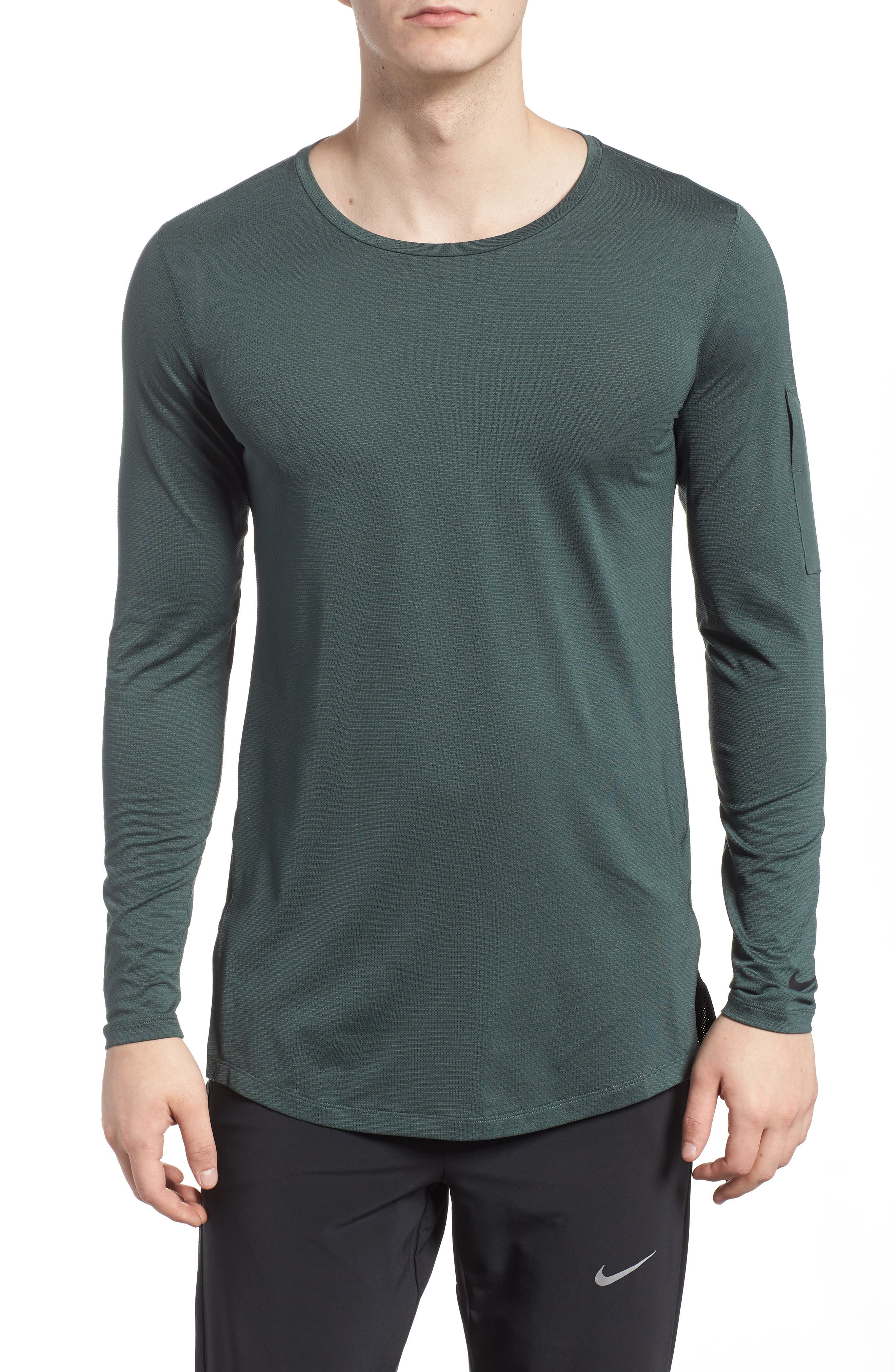 Pro Utility Fitted Training Top,                         Main,                         color, Vintage Green/ Black