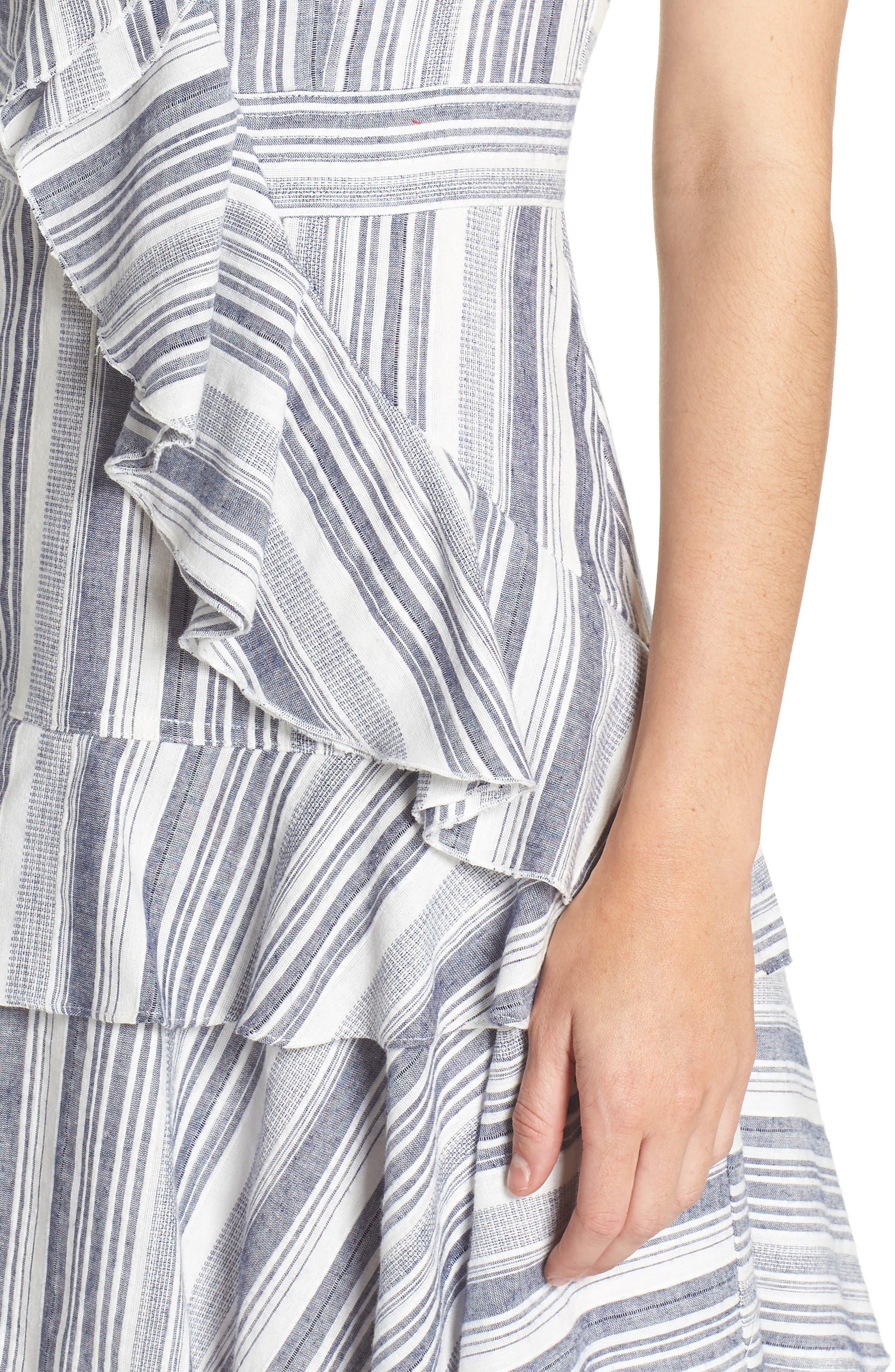 Stripe Ruffle Sundress,                             Alternate thumbnail 4, color,                             Navy