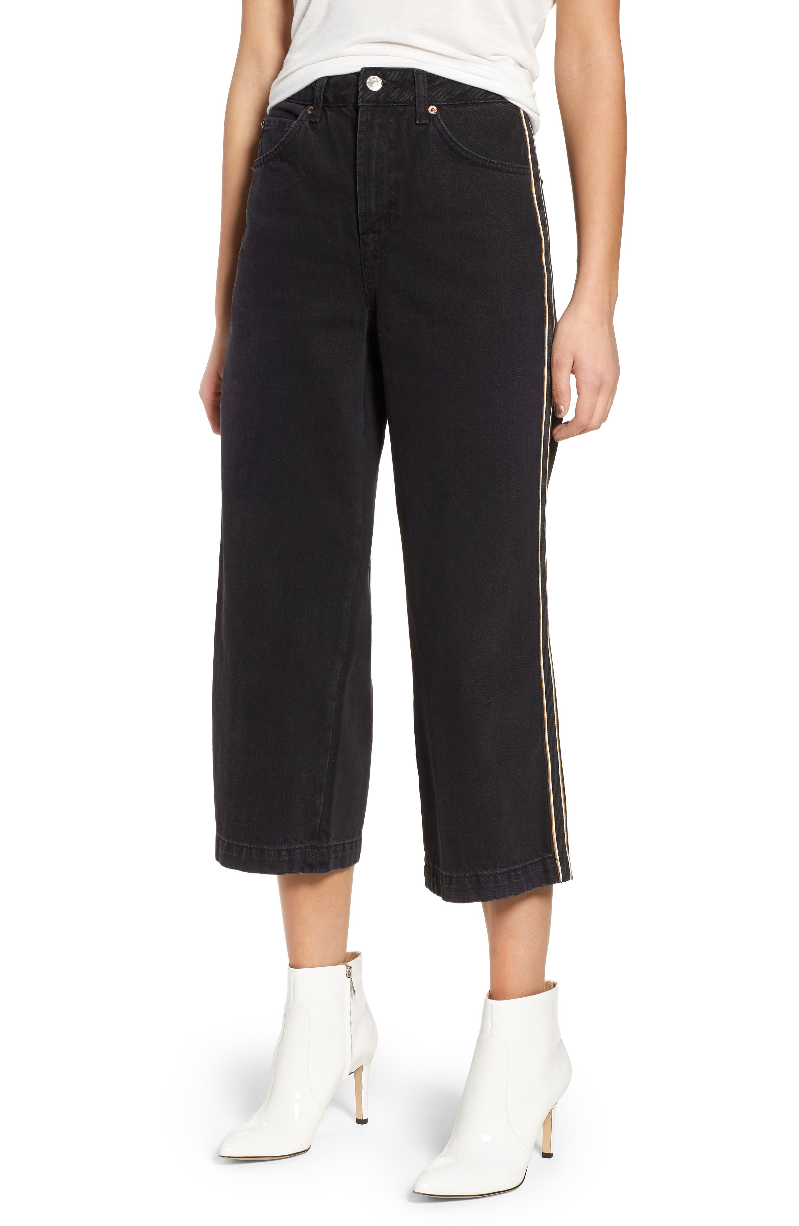 Topshop Stripe Hem Crop Jeans (Washed Black)