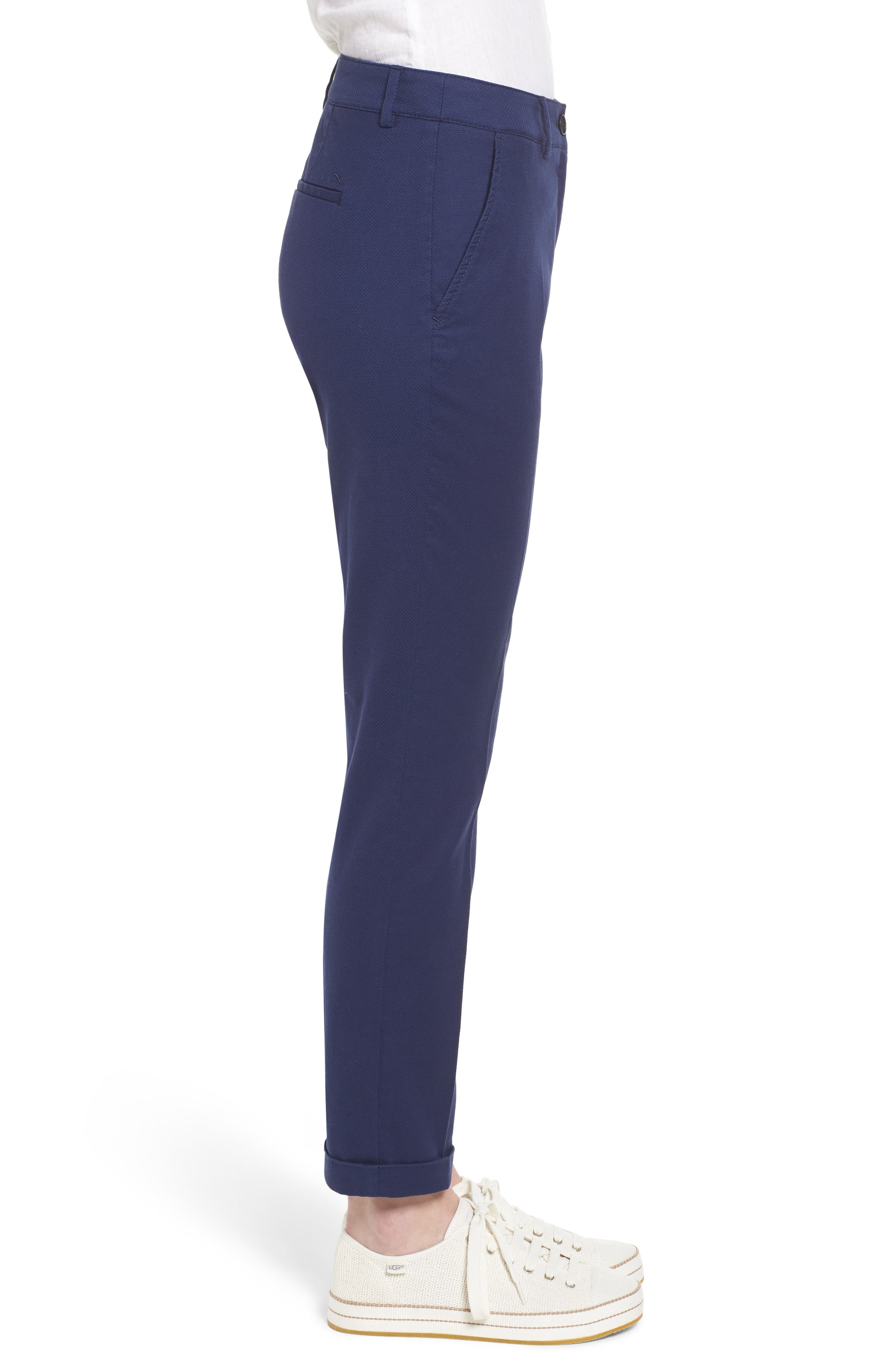 Maron Cuffed Straight Leg Pants,                             Alternate thumbnail 3, color,                             Navy