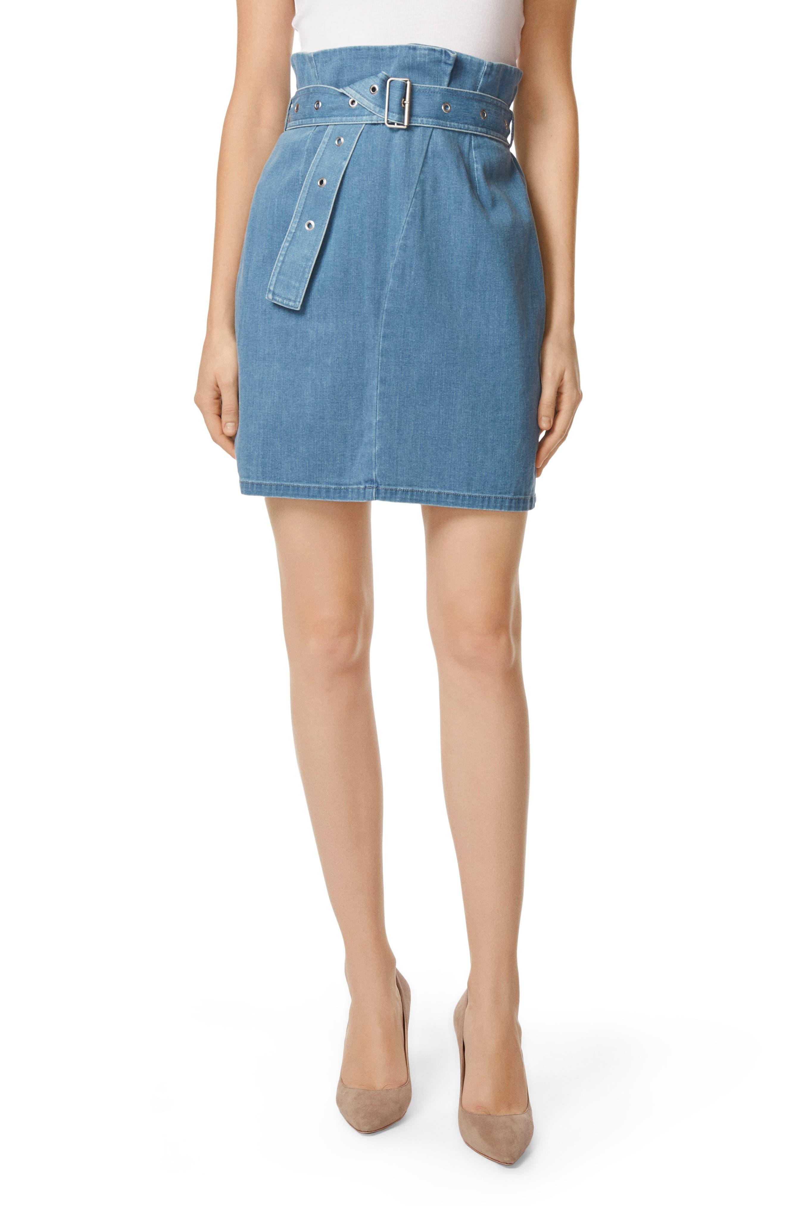 Tranquil Pleat Front Denim Skirt,                             Main thumbnail 1, color,                             Heavenly
