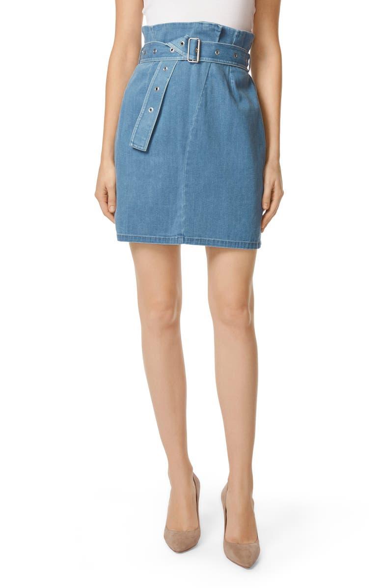 Tranquil Pleat Front Denim Skirt