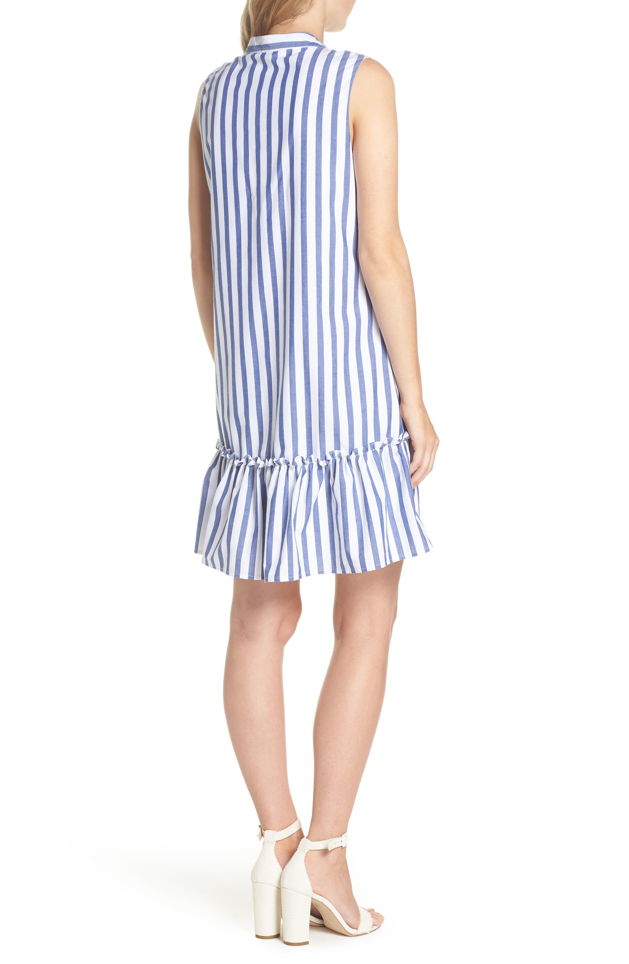Stripe Bib Front Sleeveless Shift Dress,                             Alternate thumbnail 2, color,                             Ivory/ Blue Stripe