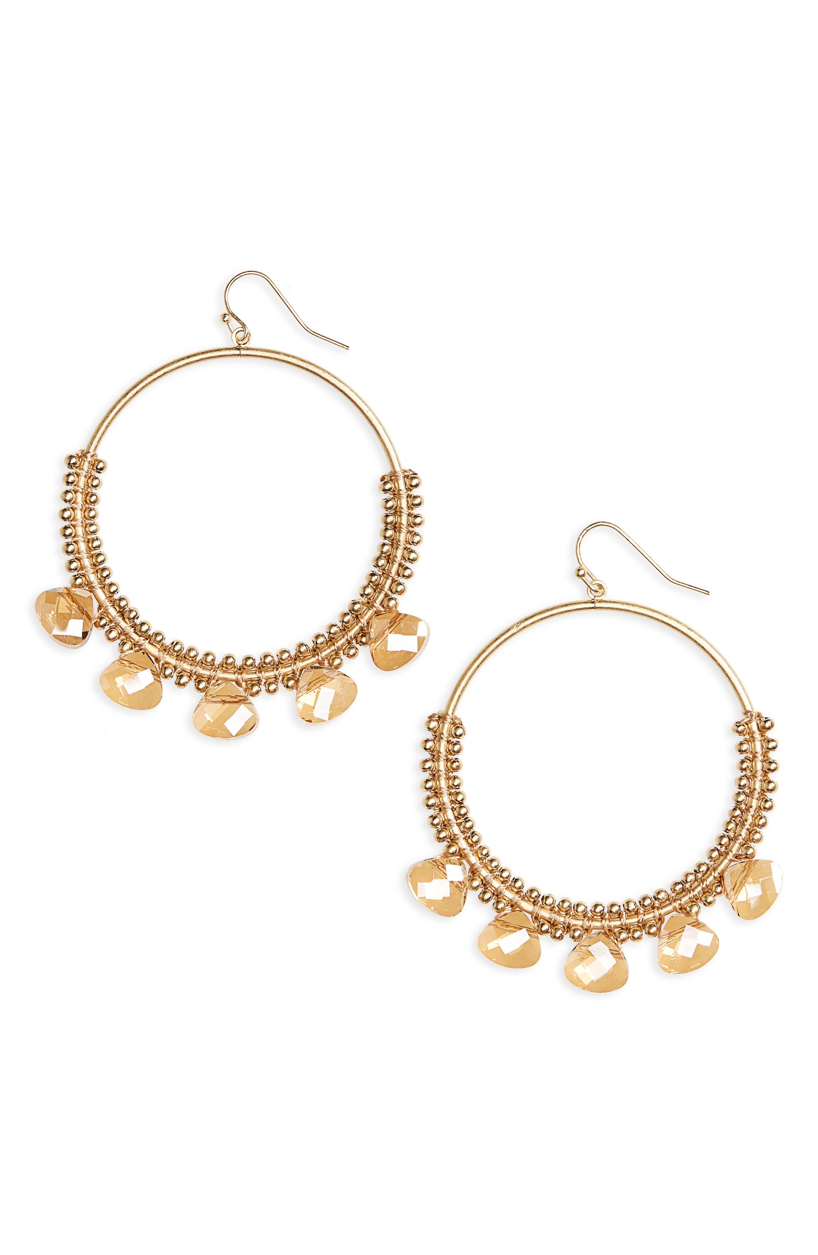 Crystal Hoop Earrings,                             Main thumbnail 1, color,                             Topaz