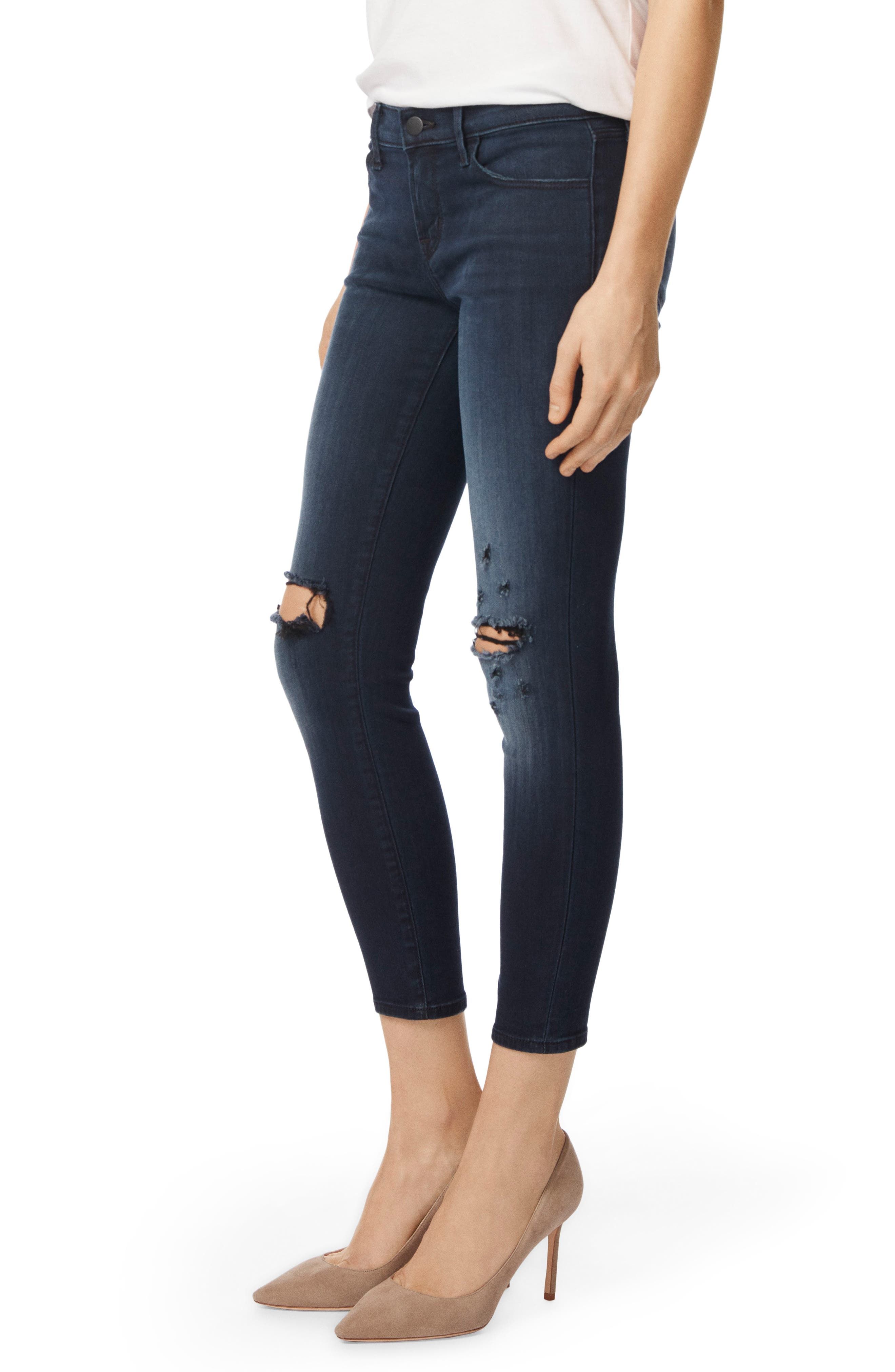 9326 Low Rise Crop Skinny Jeans,                             Alternate thumbnail 3, color,                             Black Sea