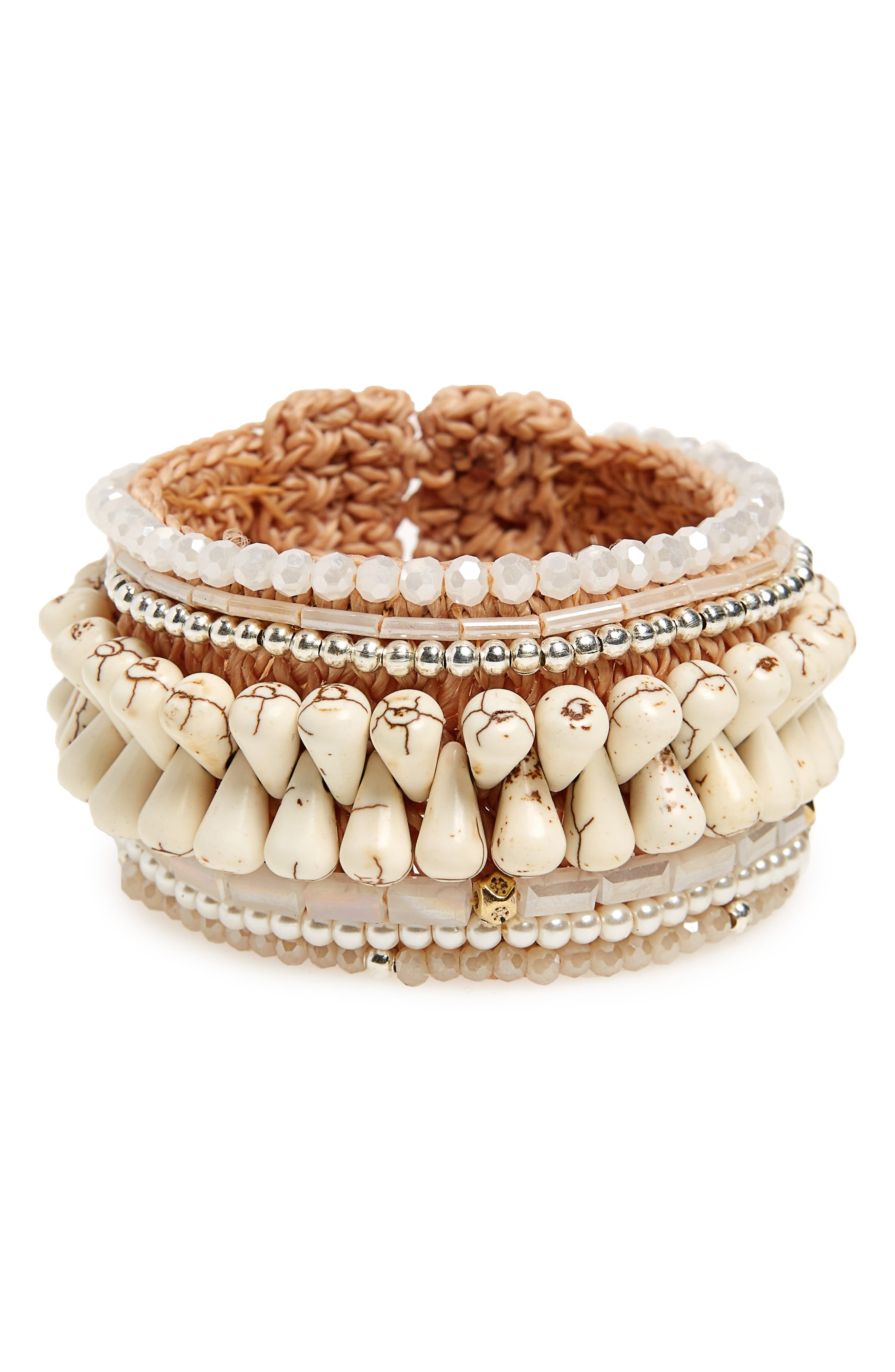 Beaded Rope Cuff Bracelet,                             Main thumbnail 1, color,                             White