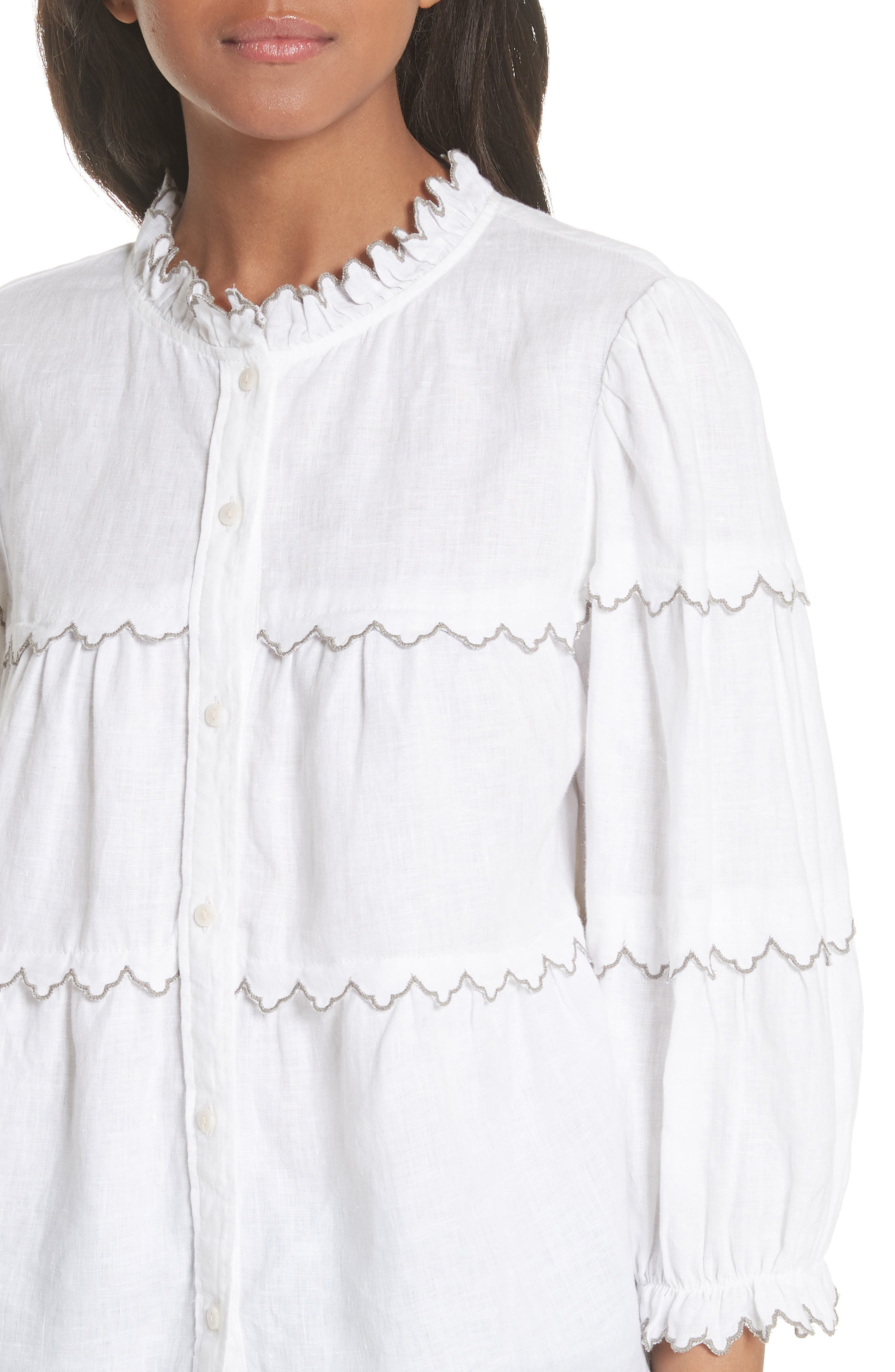 Embroidered Linen Top,                             Alternate thumbnail 4, color,                             Milk