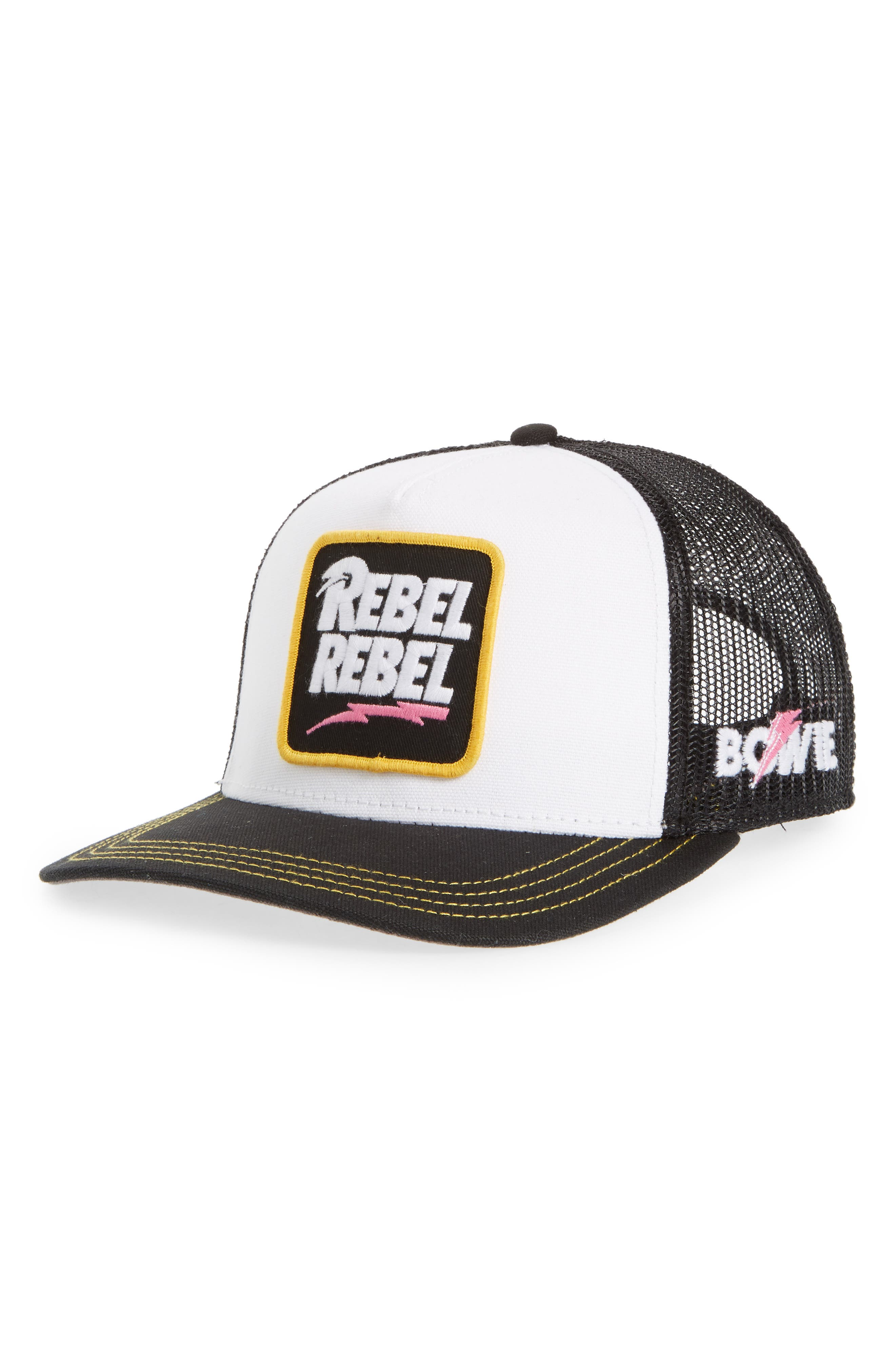 Valin Bowie Rebel Rebel Trucker Hat,                         Main,                         color, Black