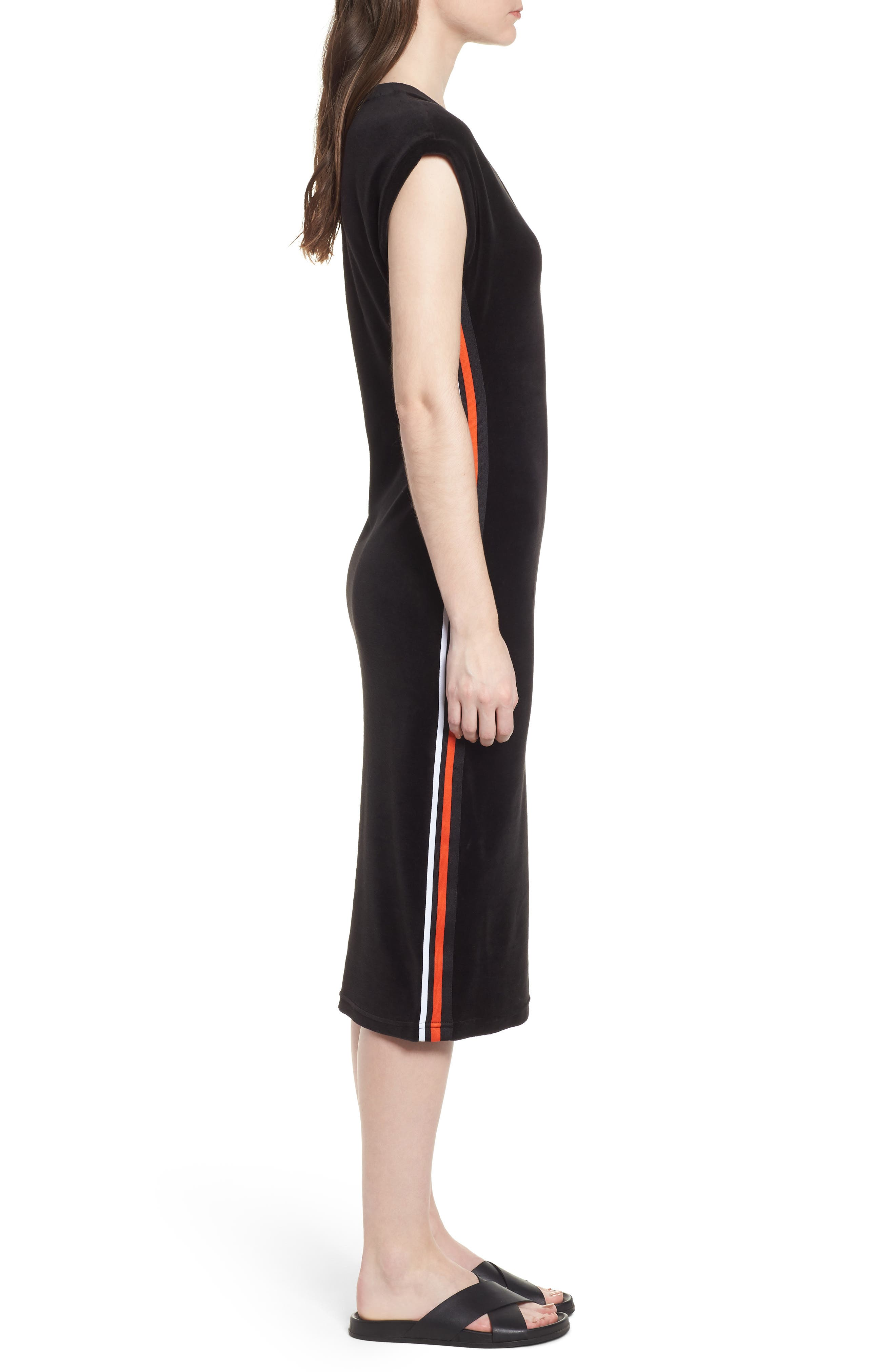 Fitted Stretch Velour Midi Dress,                             Alternate thumbnail 3, color,                             Pitch Black