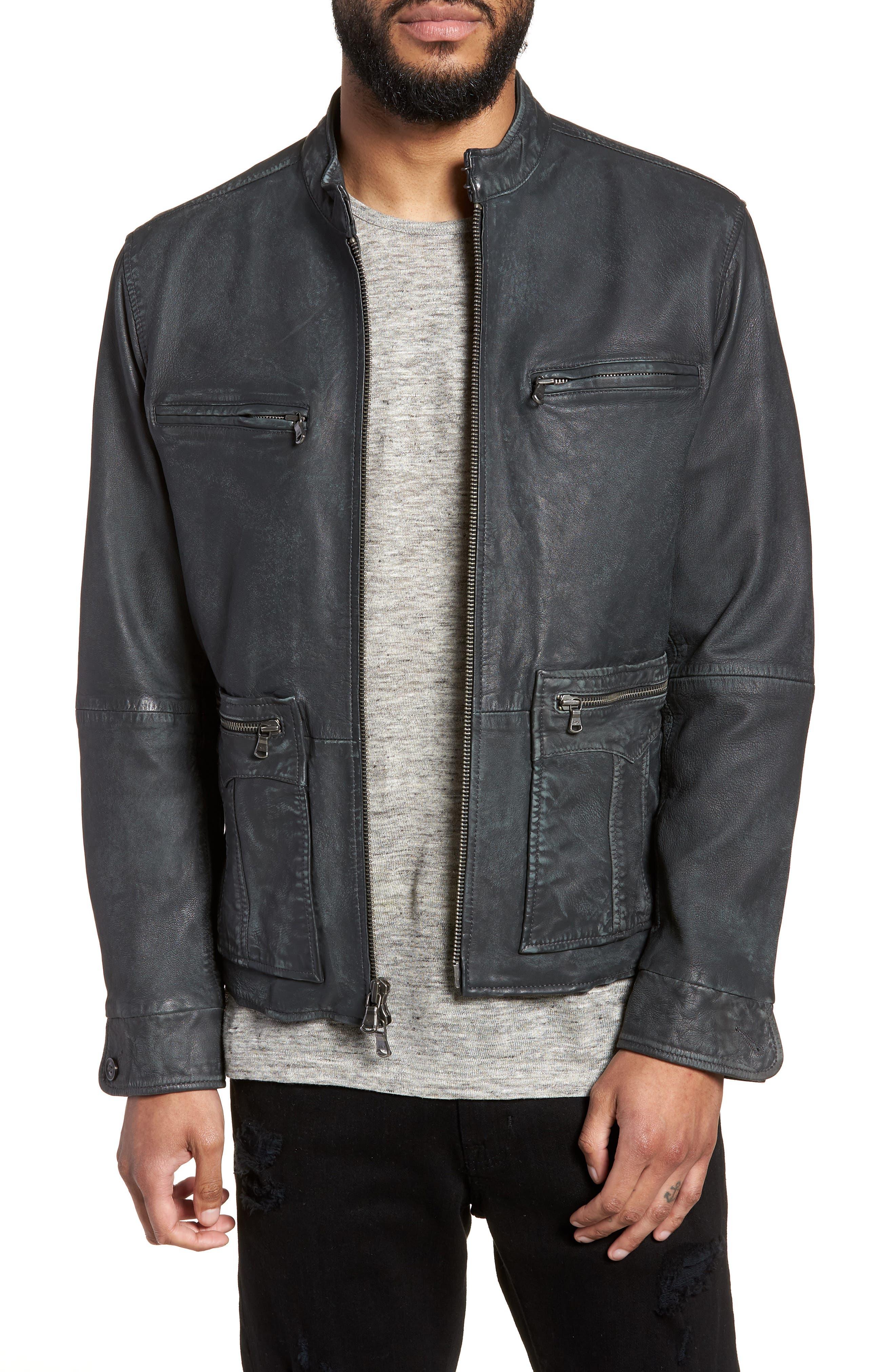 John Varvatos x Nick Jonas Modern Moto Jacket,                             Main thumbnail 1, color,                             Shark Grey
