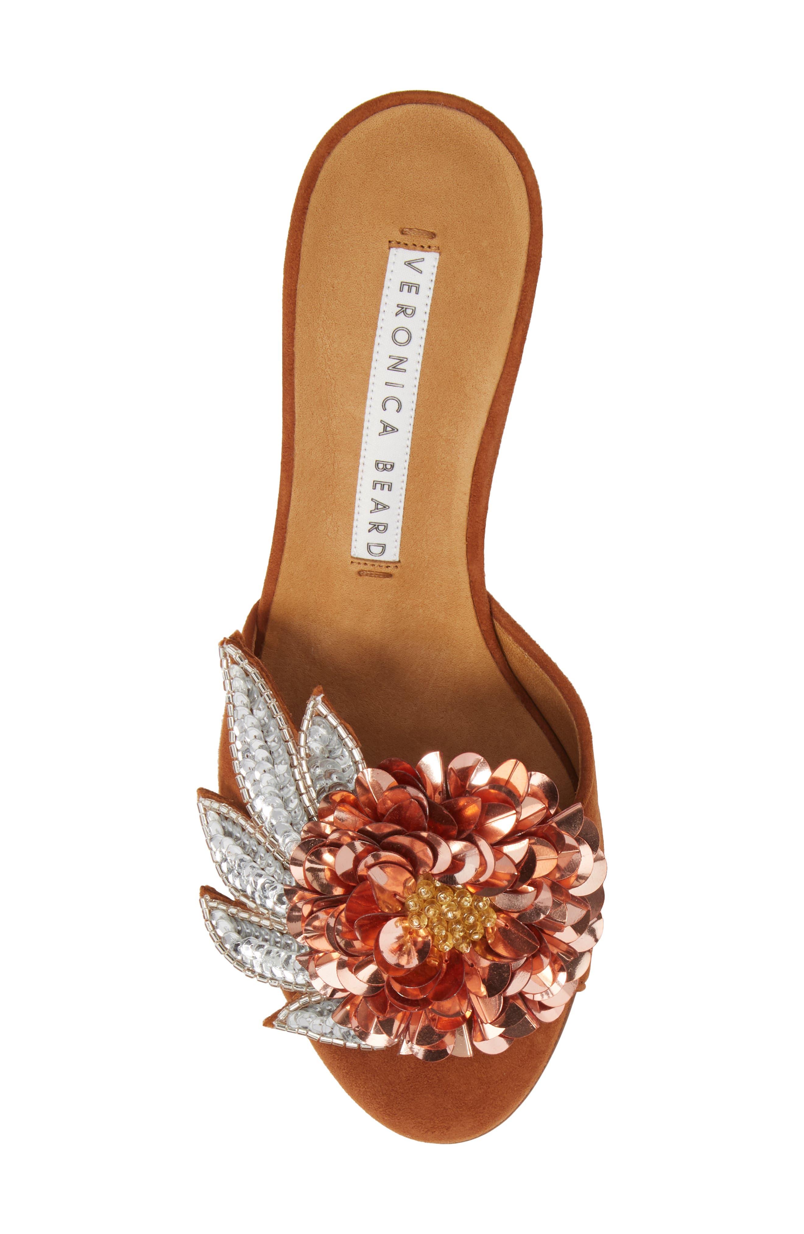 Nev Embellished Slide Sandal,                             Alternate thumbnail 5, color,                             Cognac