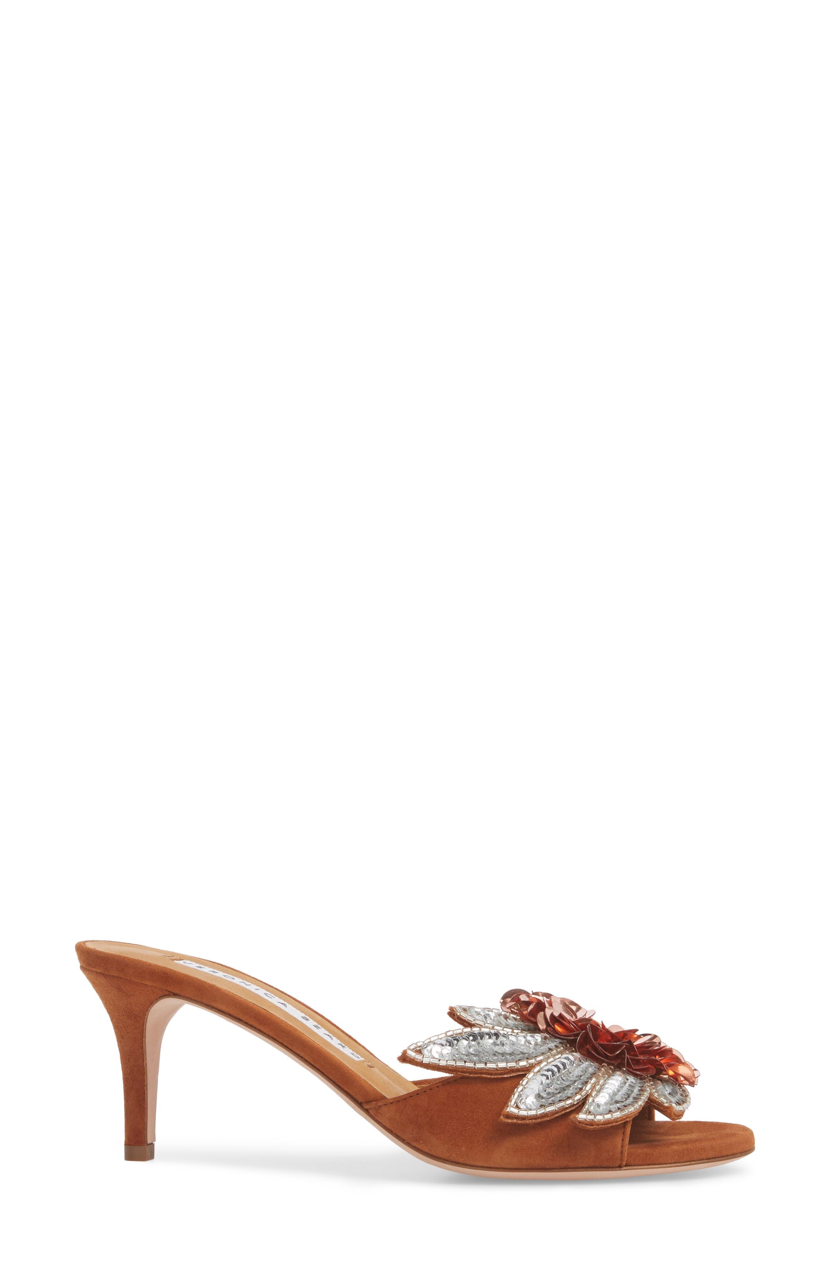 Nev Embellished Slide Sandal,                             Alternate thumbnail 3, color,                             Cognac