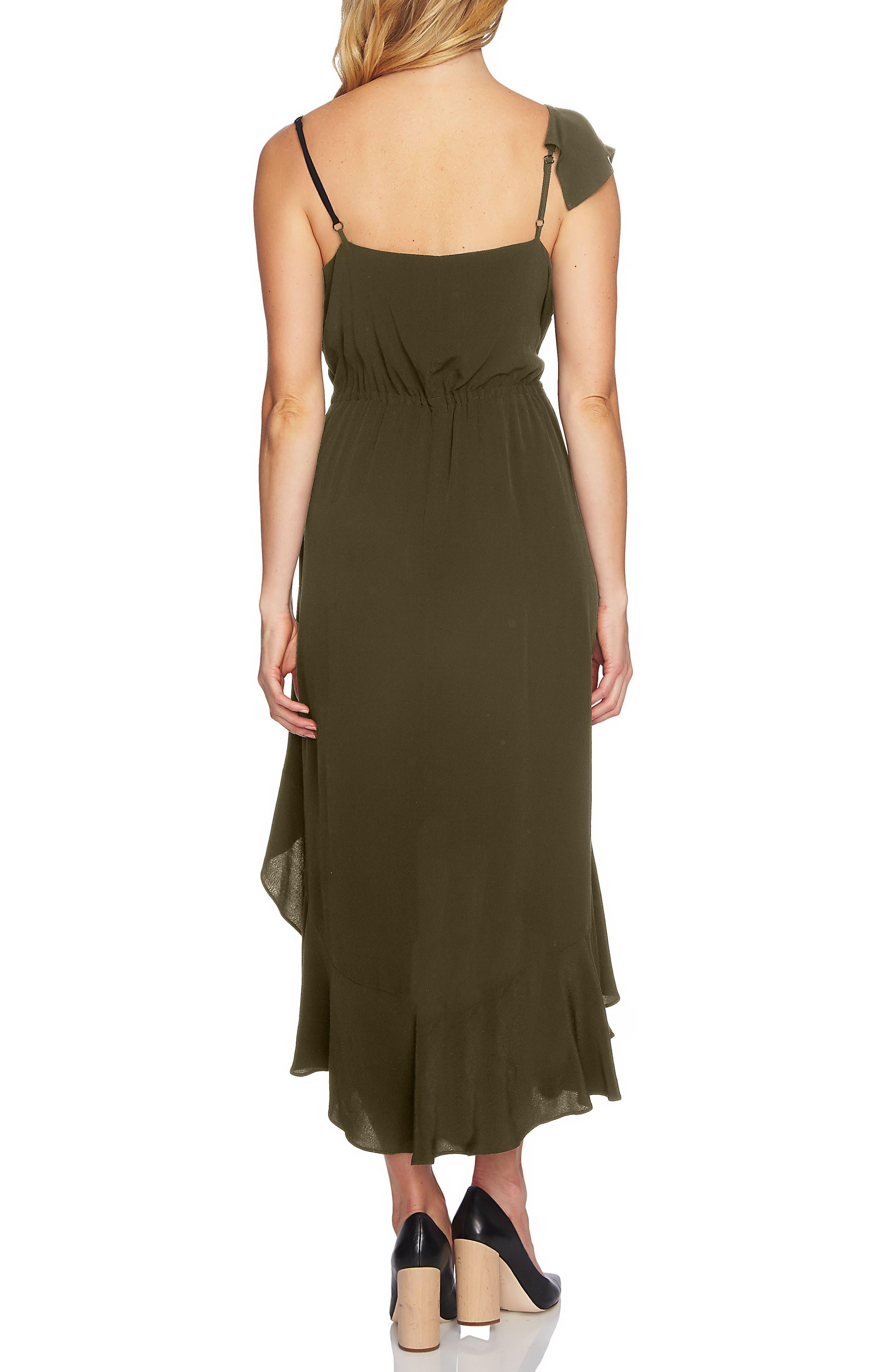 Ruffle High/Low Midi Dress,                             Alternate thumbnail 2, color,                             Olive Tree