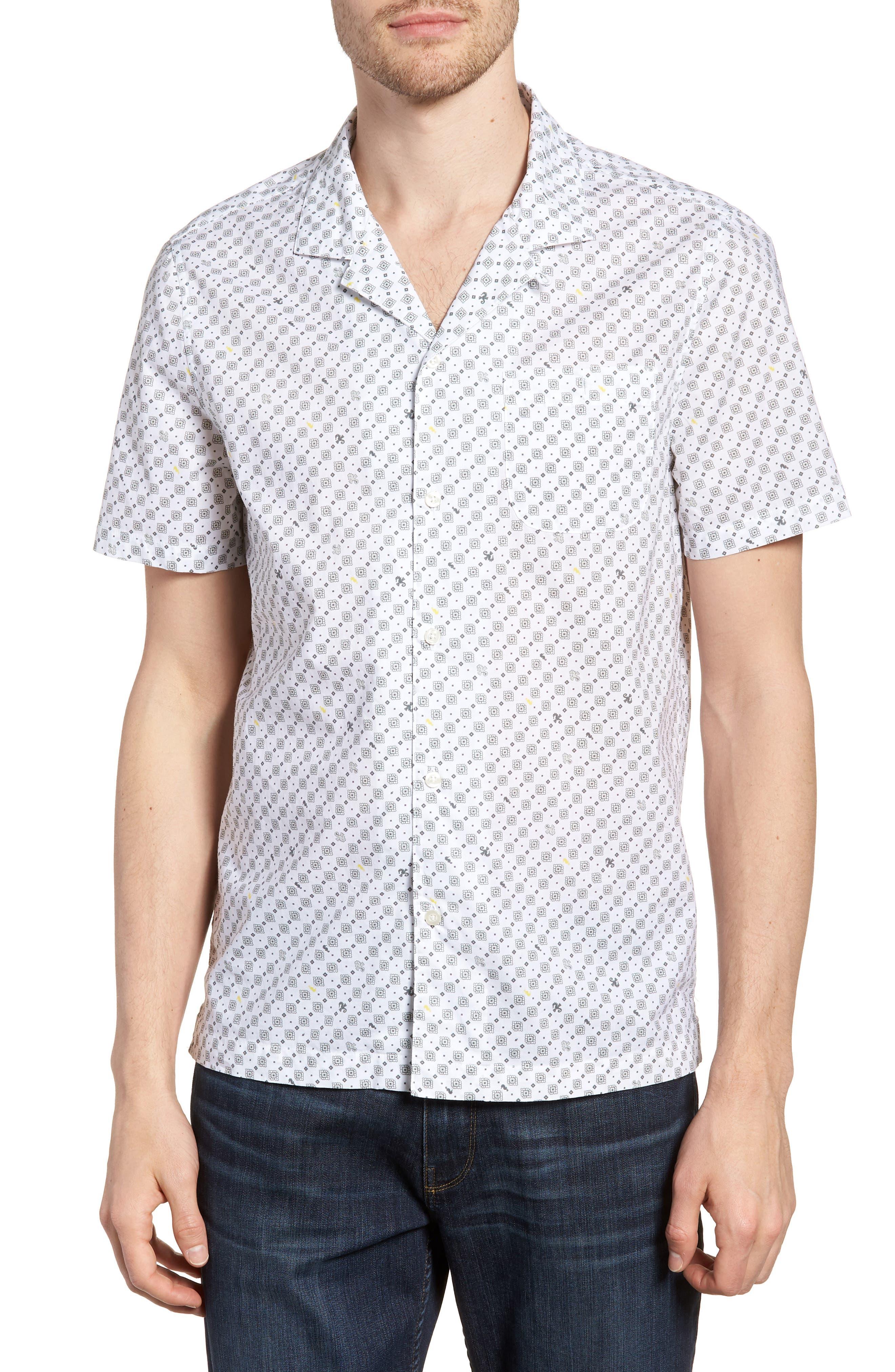 Michael Bastian Slim Fit Print Camp Shirt