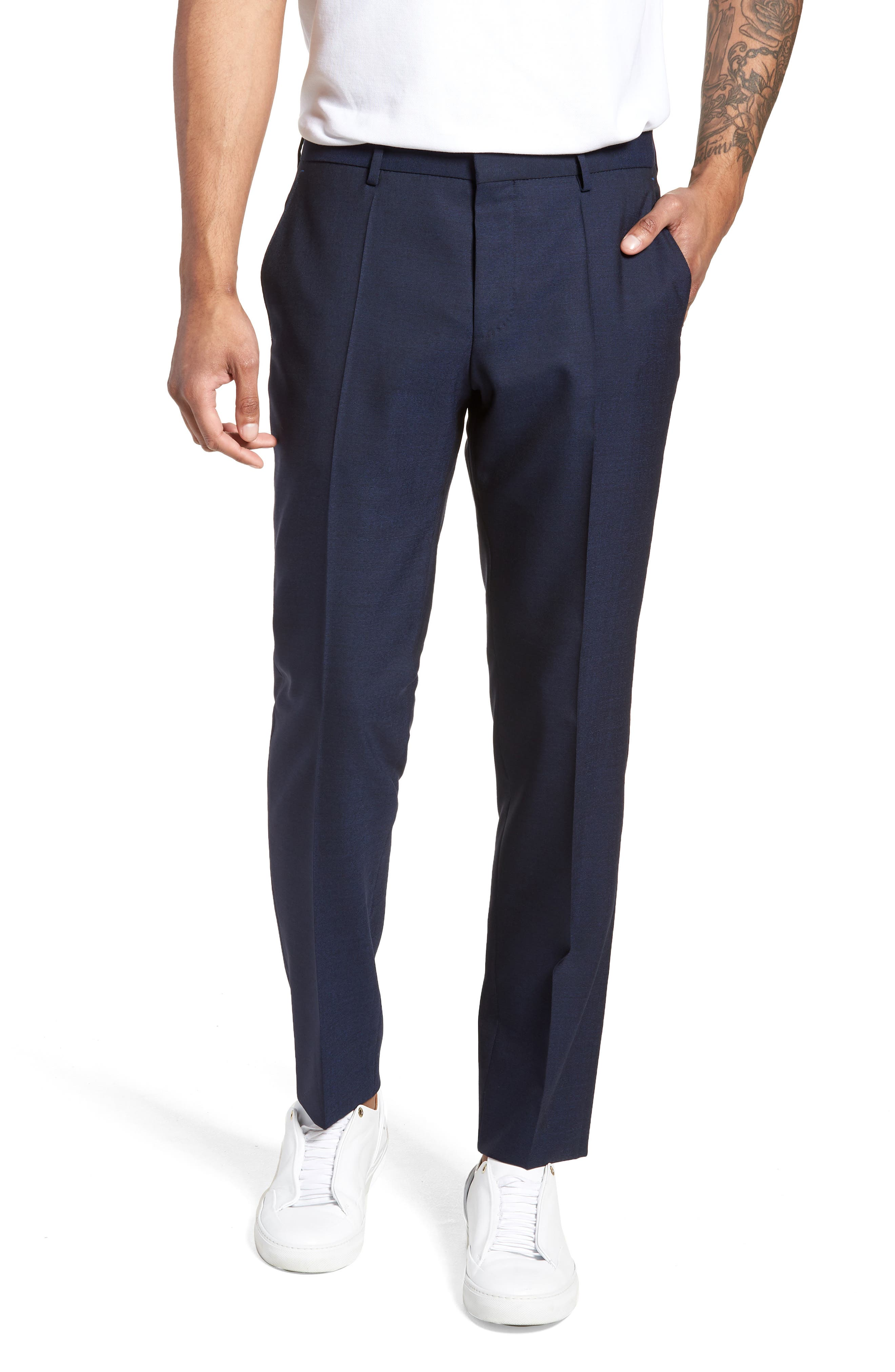 Nordstrom x BOSS Ben Flat Front Solid Wool Trousers,                         Main,                         color, Navy