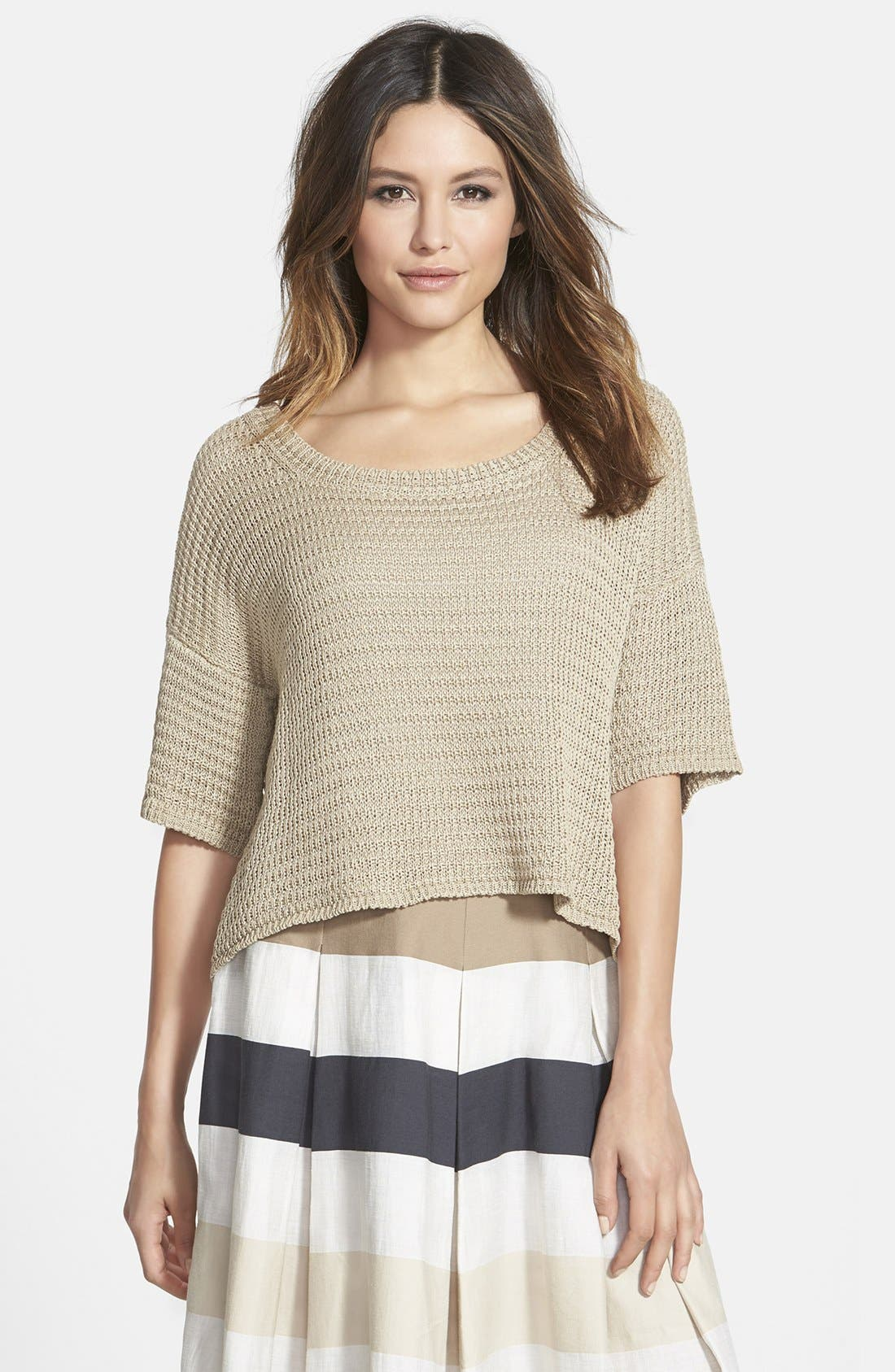 Alternate Image 1 Selected - Weekend Max Mara 'Sapone' Crop Cotton Sweater