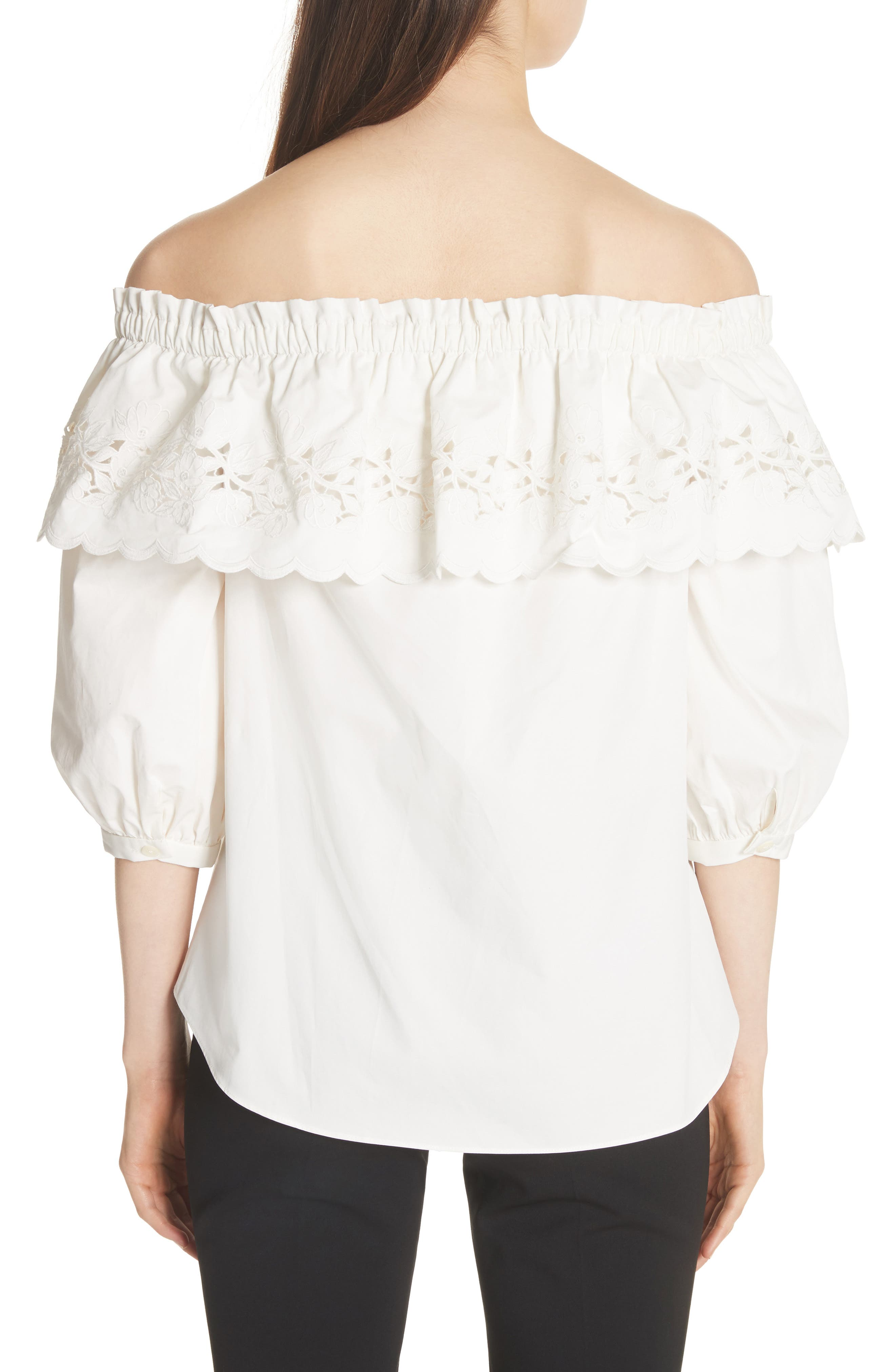cutwork off the shoulder top,                             Alternate thumbnail 2, color,                             Fresh White