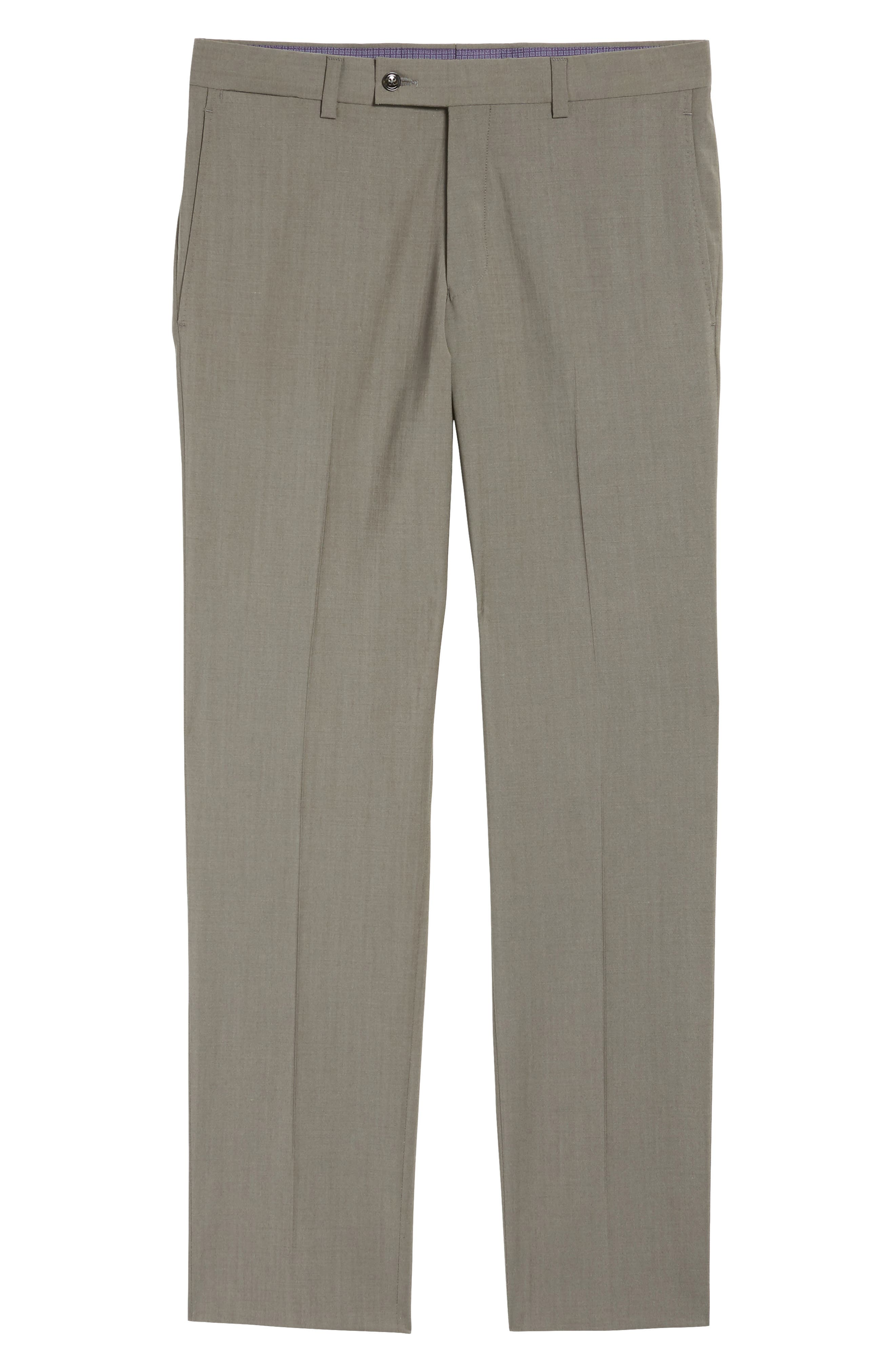 Jefferson Flat Front Stretch Wool Trousers,                             Alternate thumbnail 6, color,                             Grey