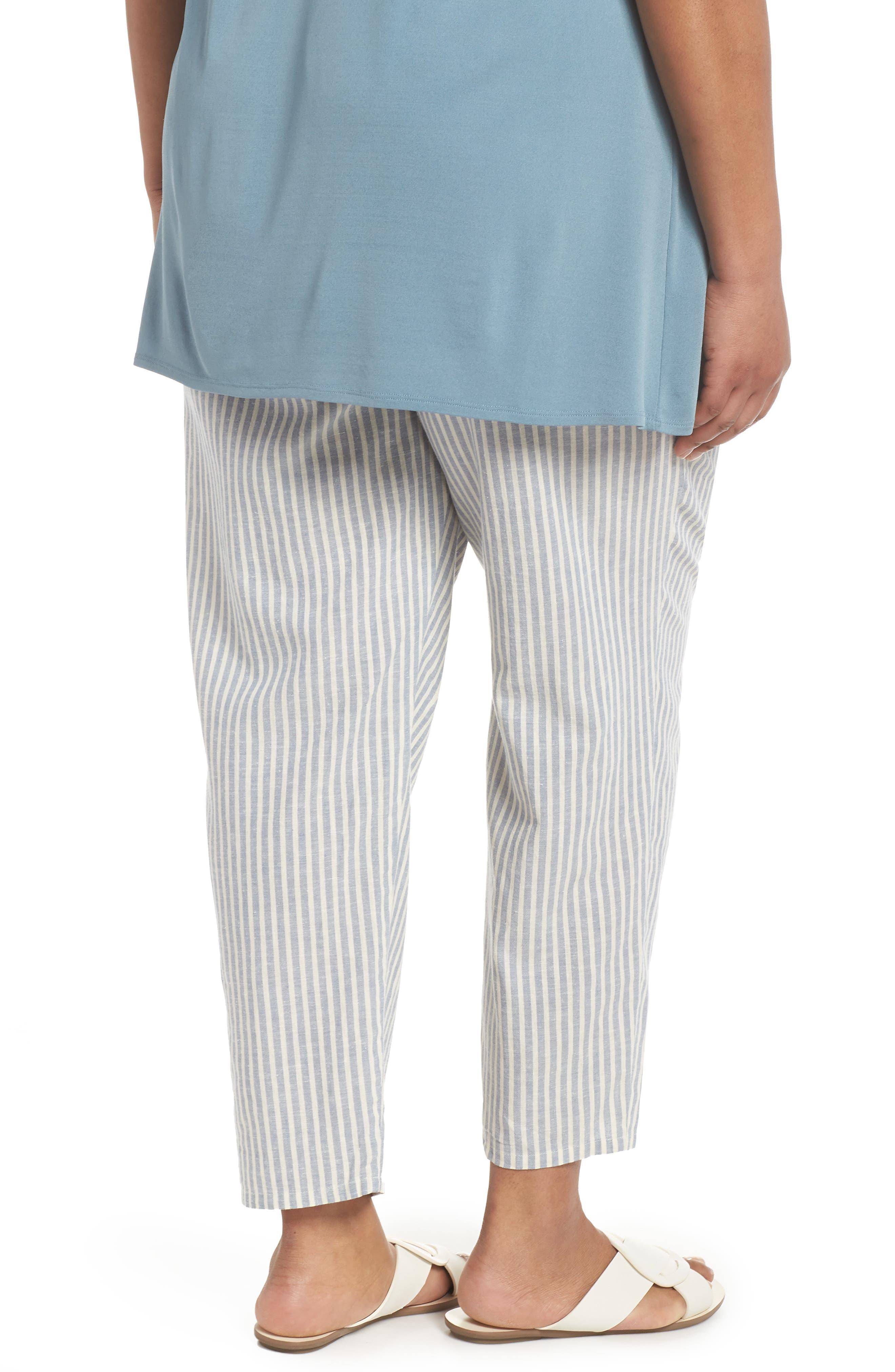 Stripe Ankle Hemp & Cotton Pants,                             Alternate thumbnail 2, color,                             Chambray