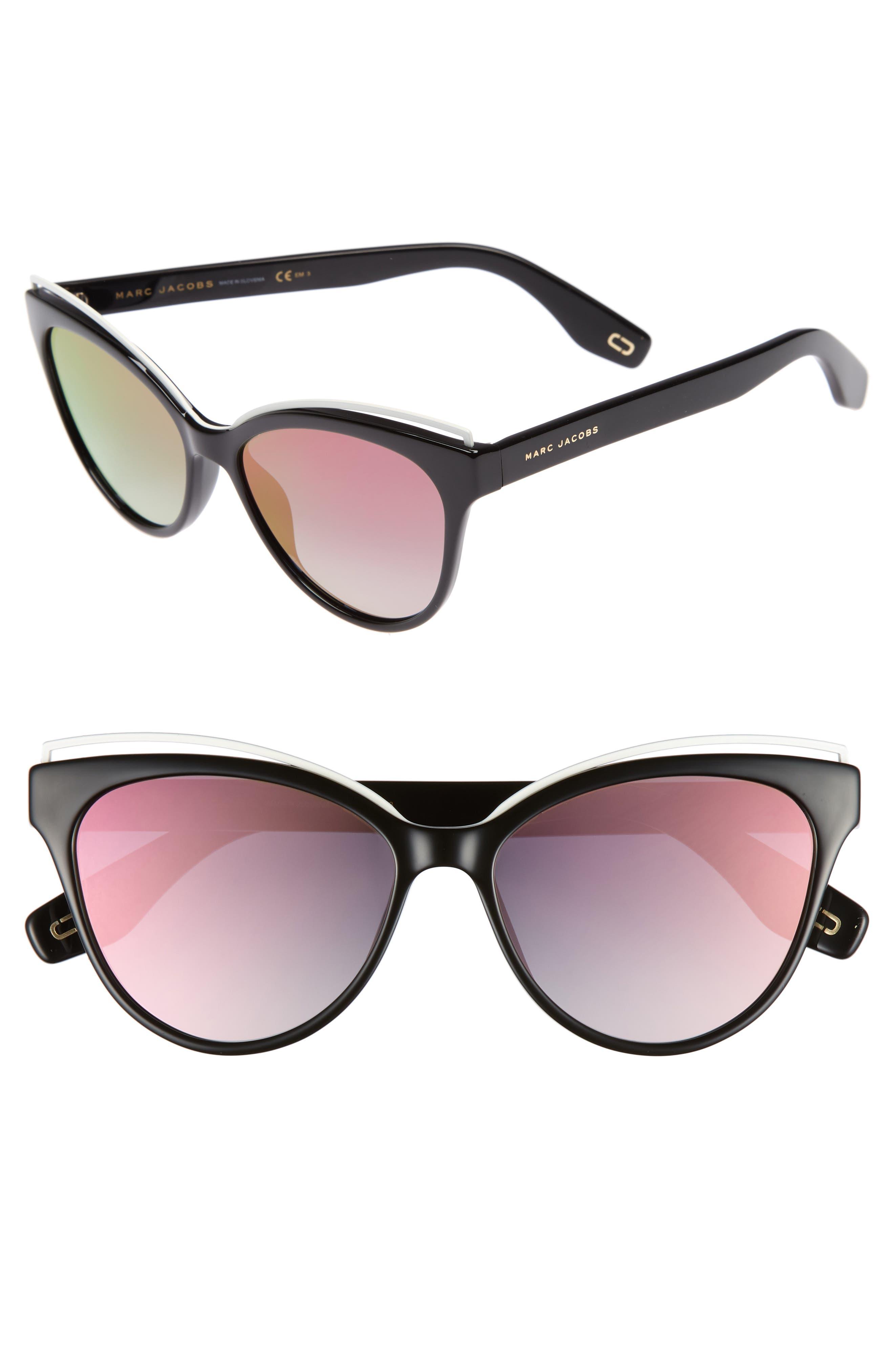 55mm Cat Eye Sunglasses,                             Main thumbnail 1, color,                             Black/ Pink