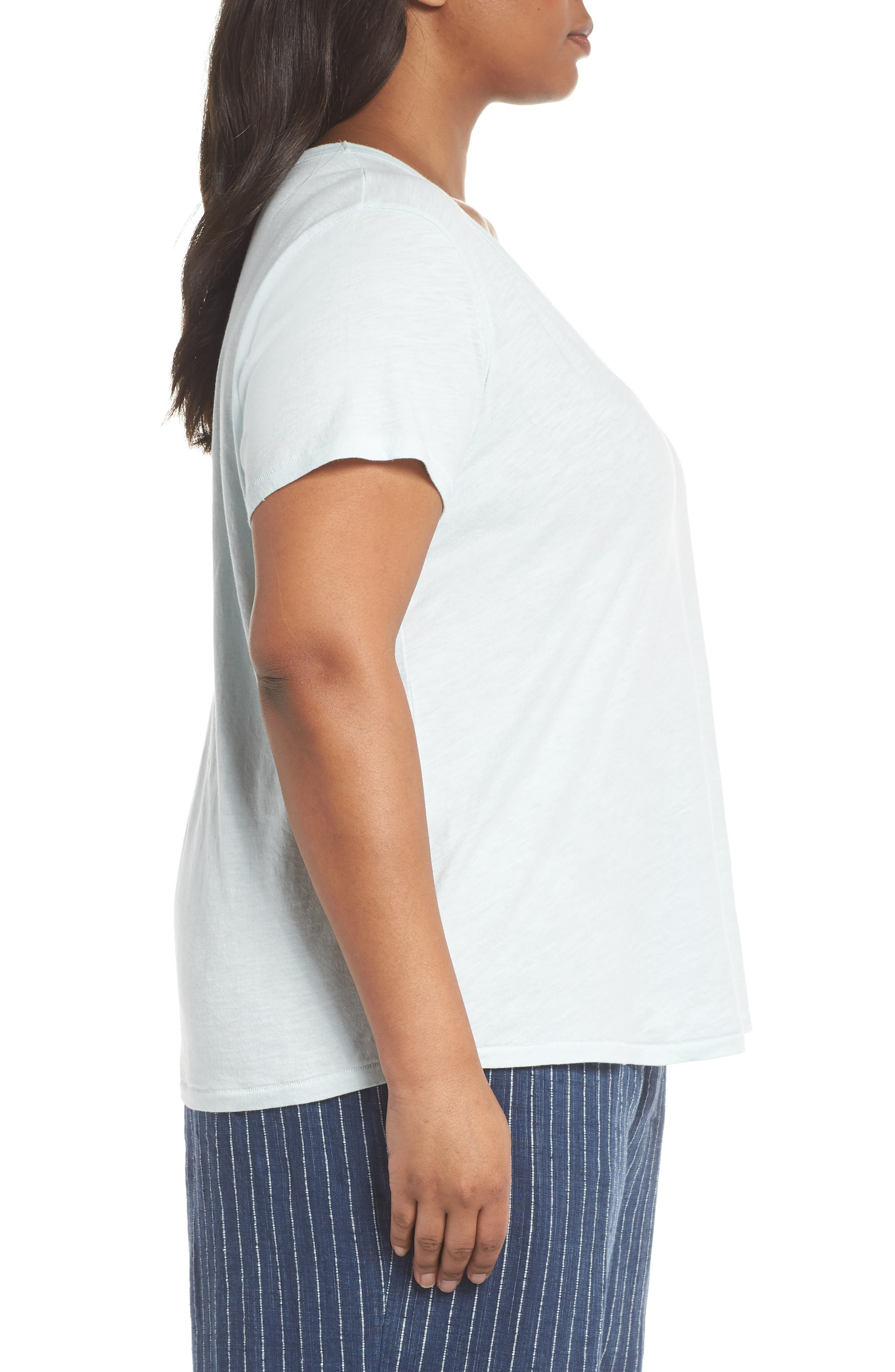 Alternate Image 3  - Eileen Fisher V-Neck Organic Cotton Tee (Plus Size)