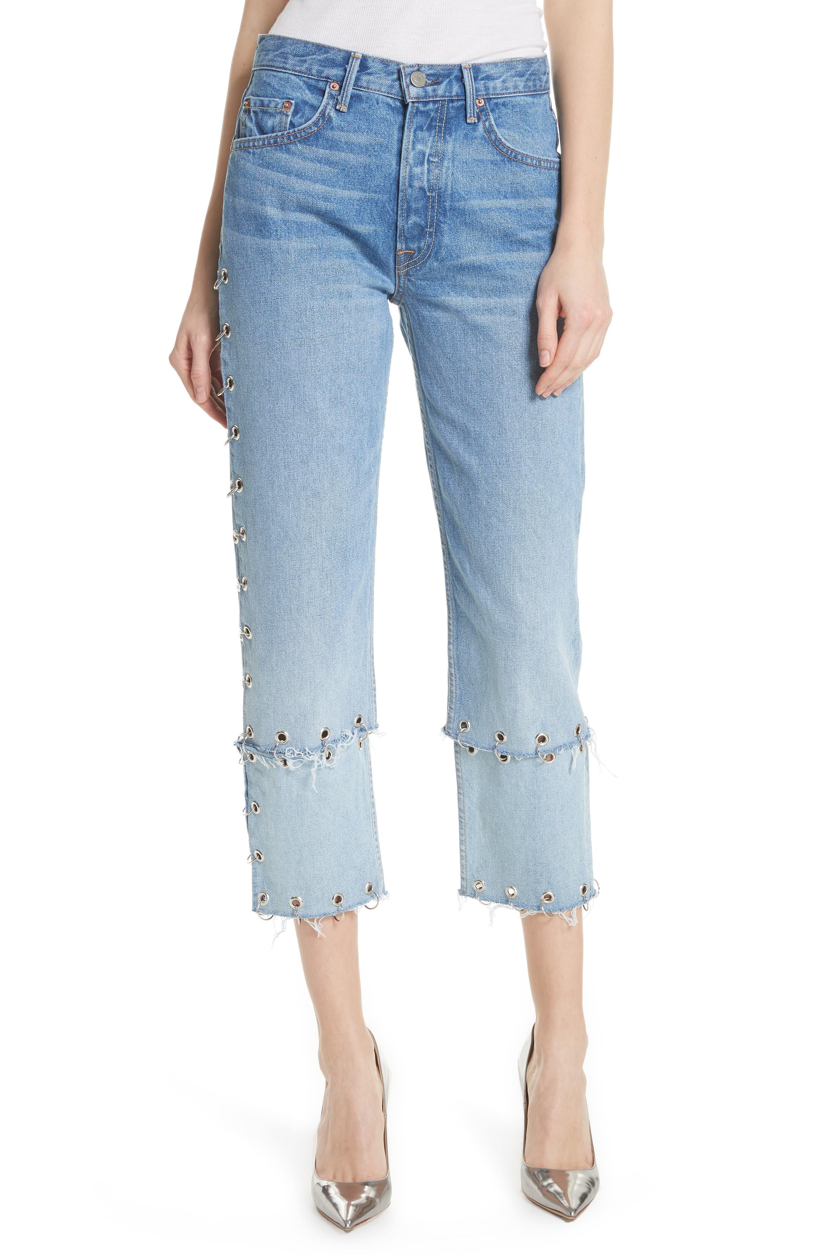 Helena Grommet Detail Straight Leg Crop Jeans,                         Main,                         color, Blue
