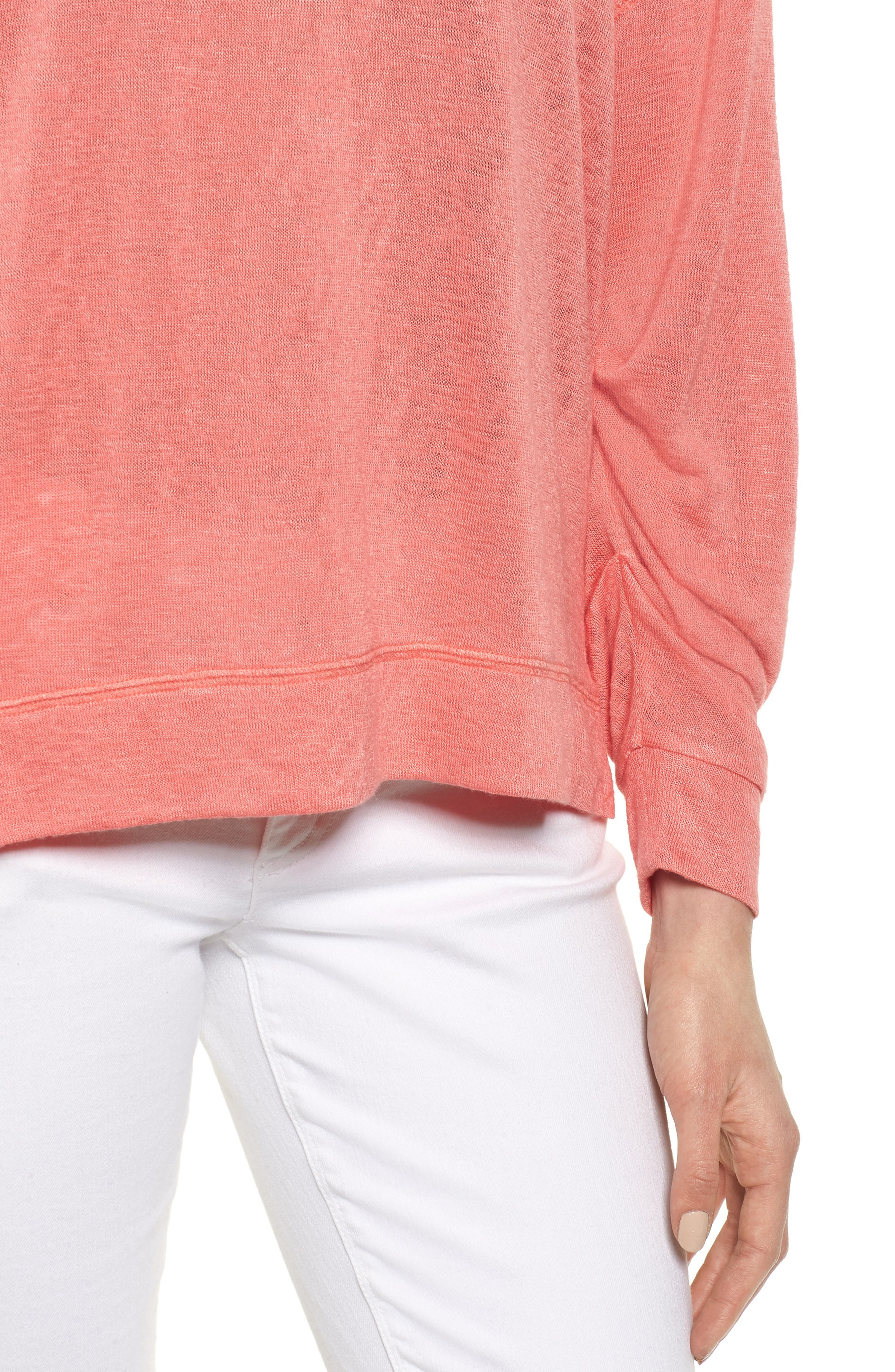 Tuck Sleeve Sweatshirt,                             Alternate thumbnail 4, color,                             Coral Rose