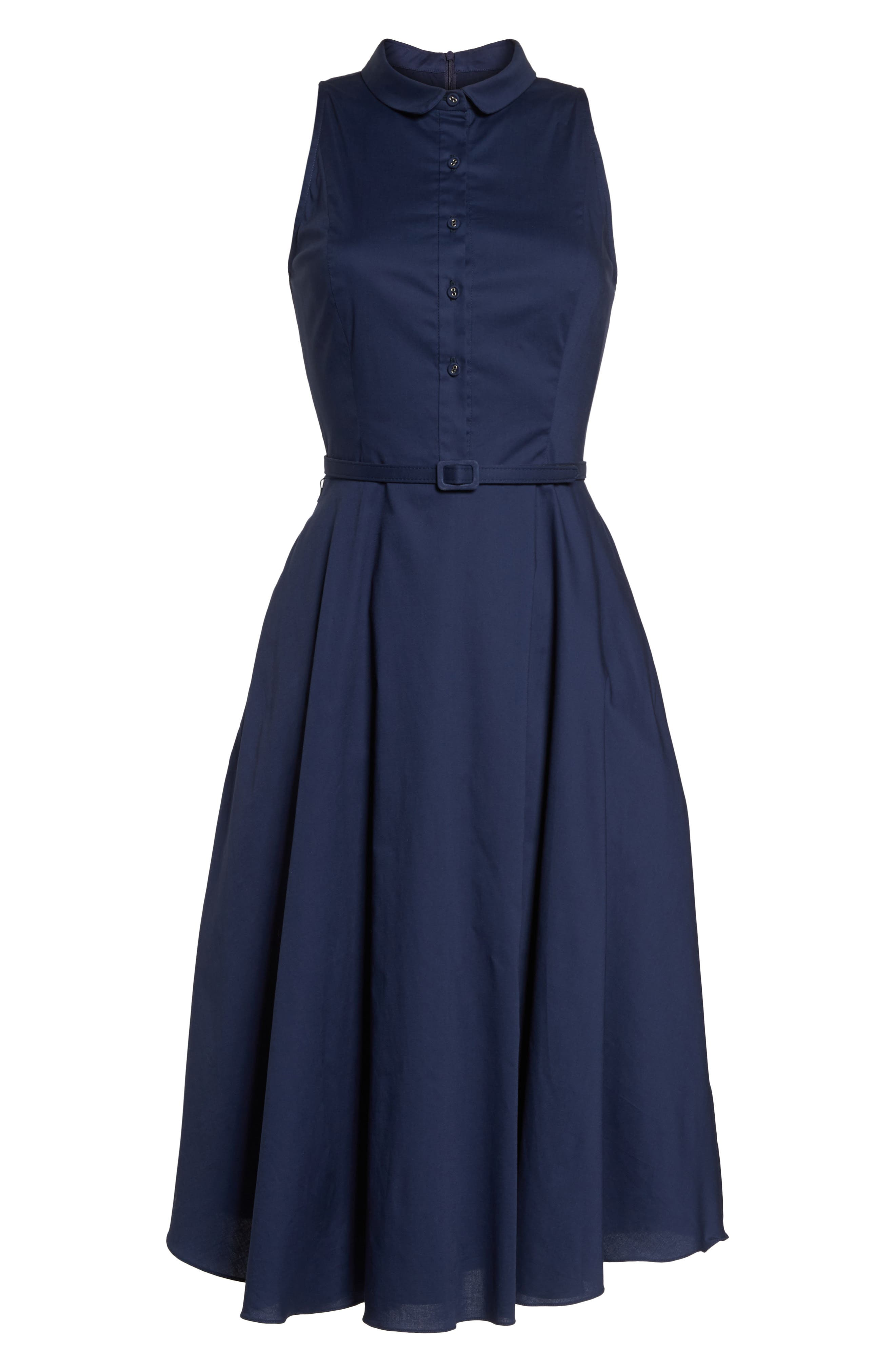 Rose Sleeveless Cotton Poplin Shirtdress,                             Alternate thumbnail 8, color,                             Navy