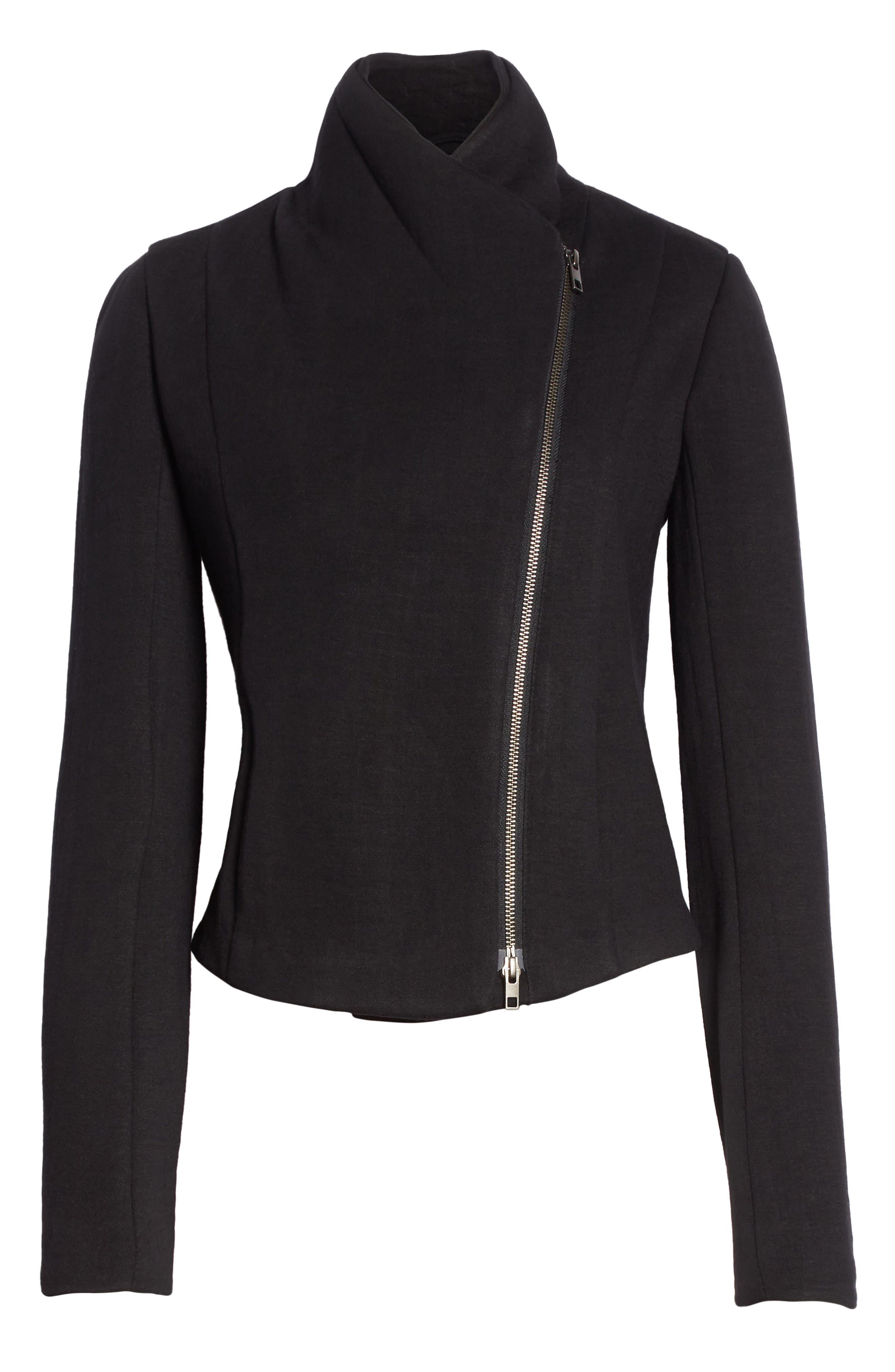 Knit Moto Jacket,                             Alternate thumbnail 6, color,                             Black