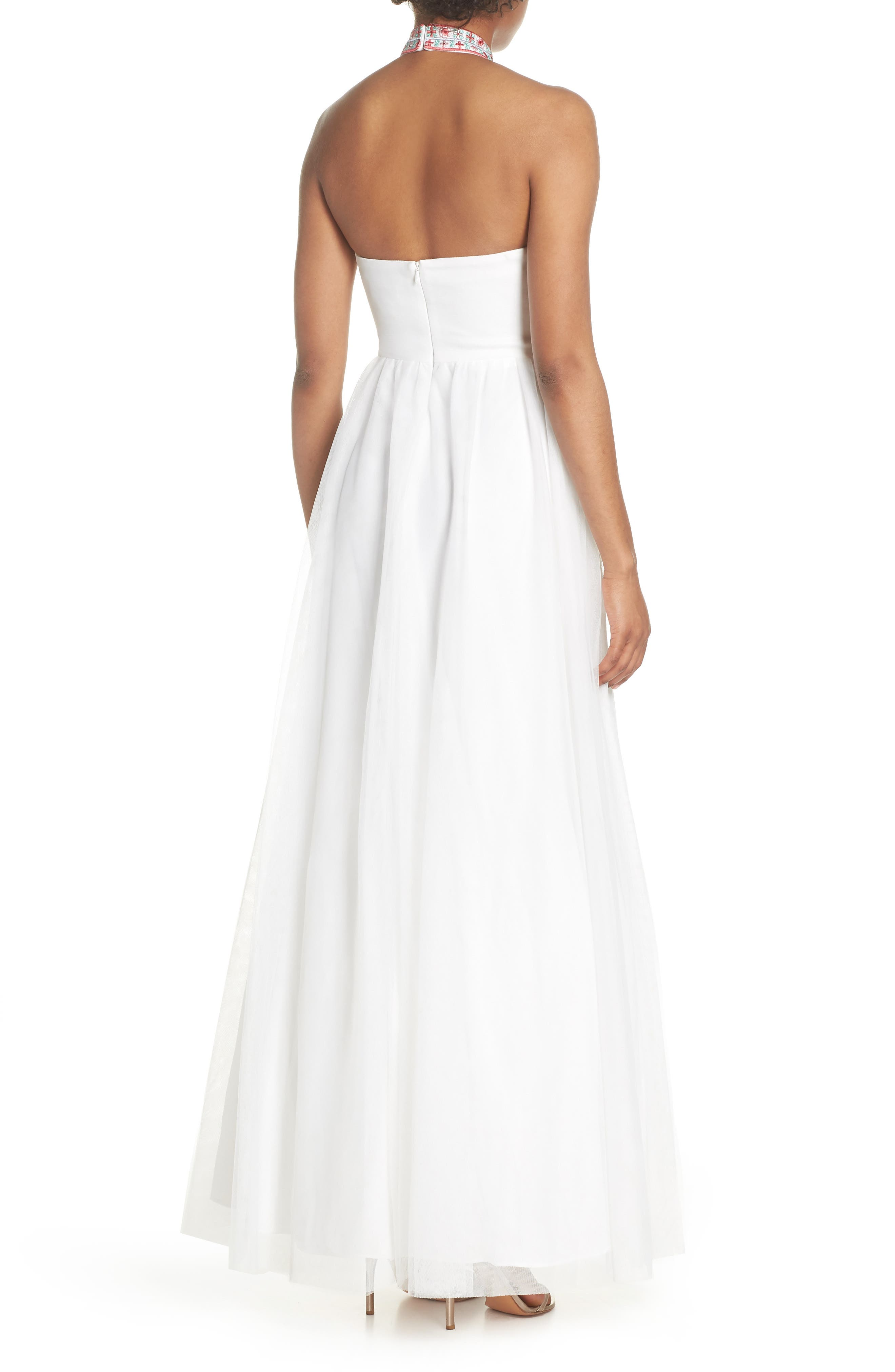 Embroidered Halter Gown,                             Alternate thumbnail 2, color,                             Ivory/ Multi