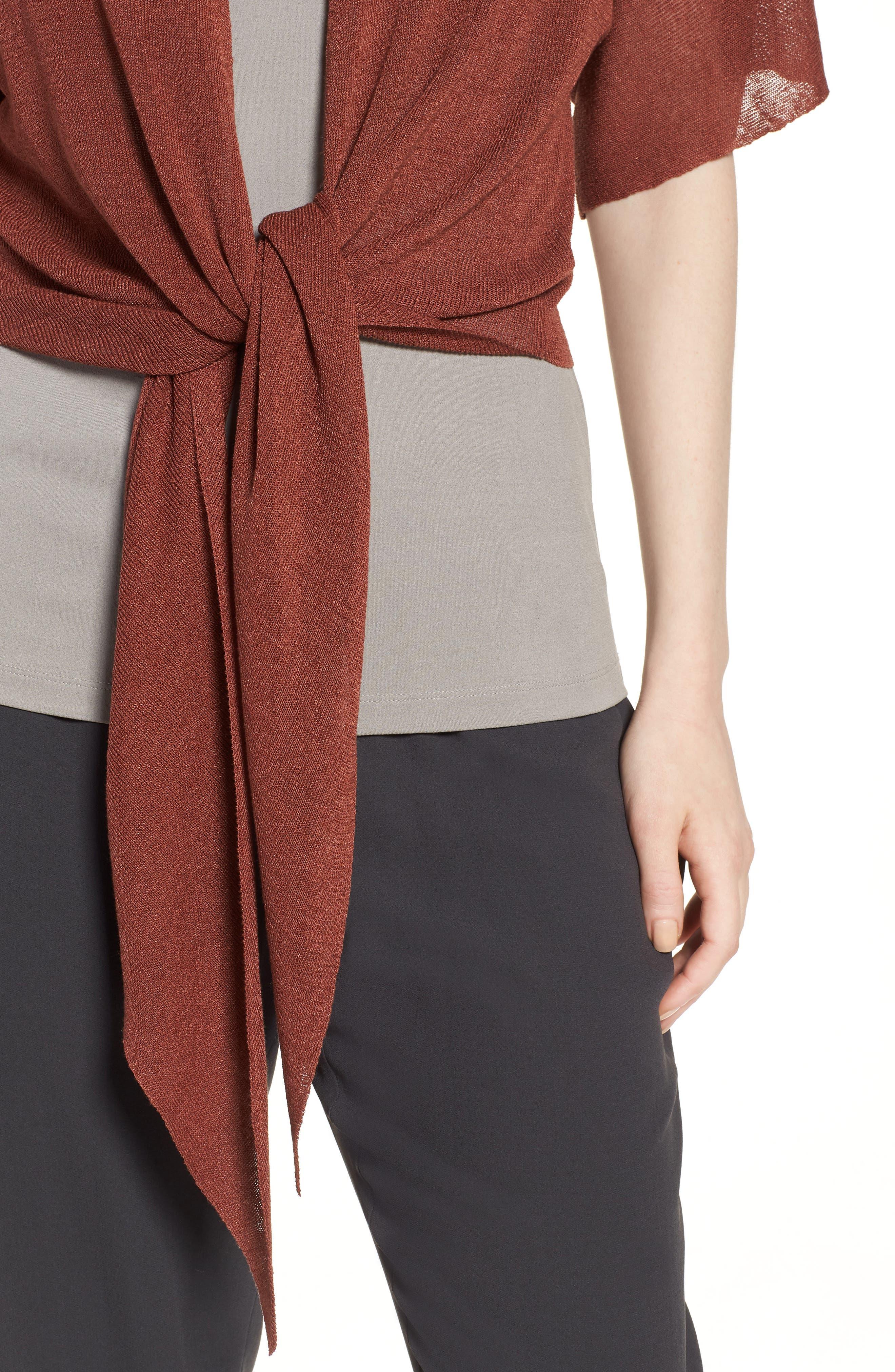 Tie Front Organic Linen Blend Cardigan,                             Alternate thumbnail 4, color,                             Russet