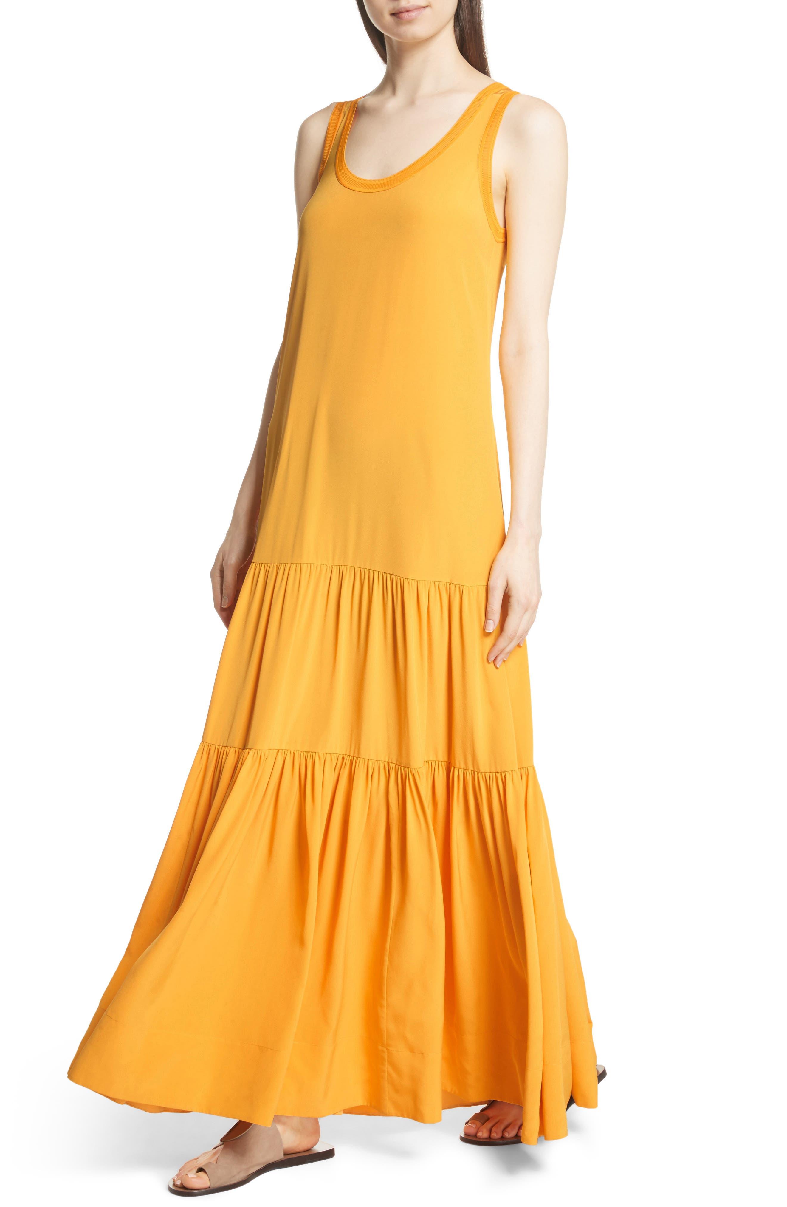 Hazel Silk Tank Dress,                             Alternate thumbnail 6, color,                             Saffron