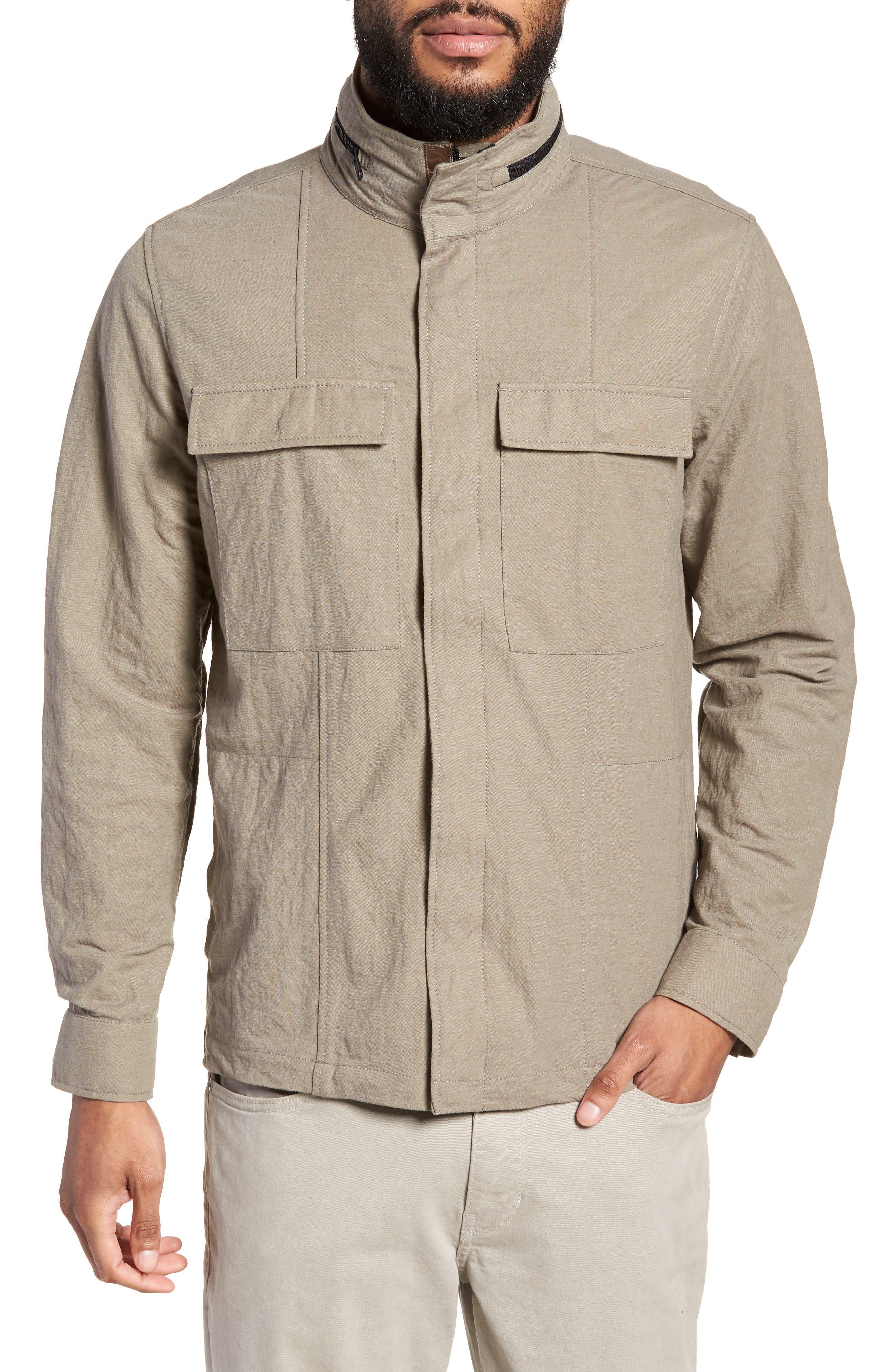 Trim Fit Jacket,                             Alternate thumbnail 4, color,                             Taupe