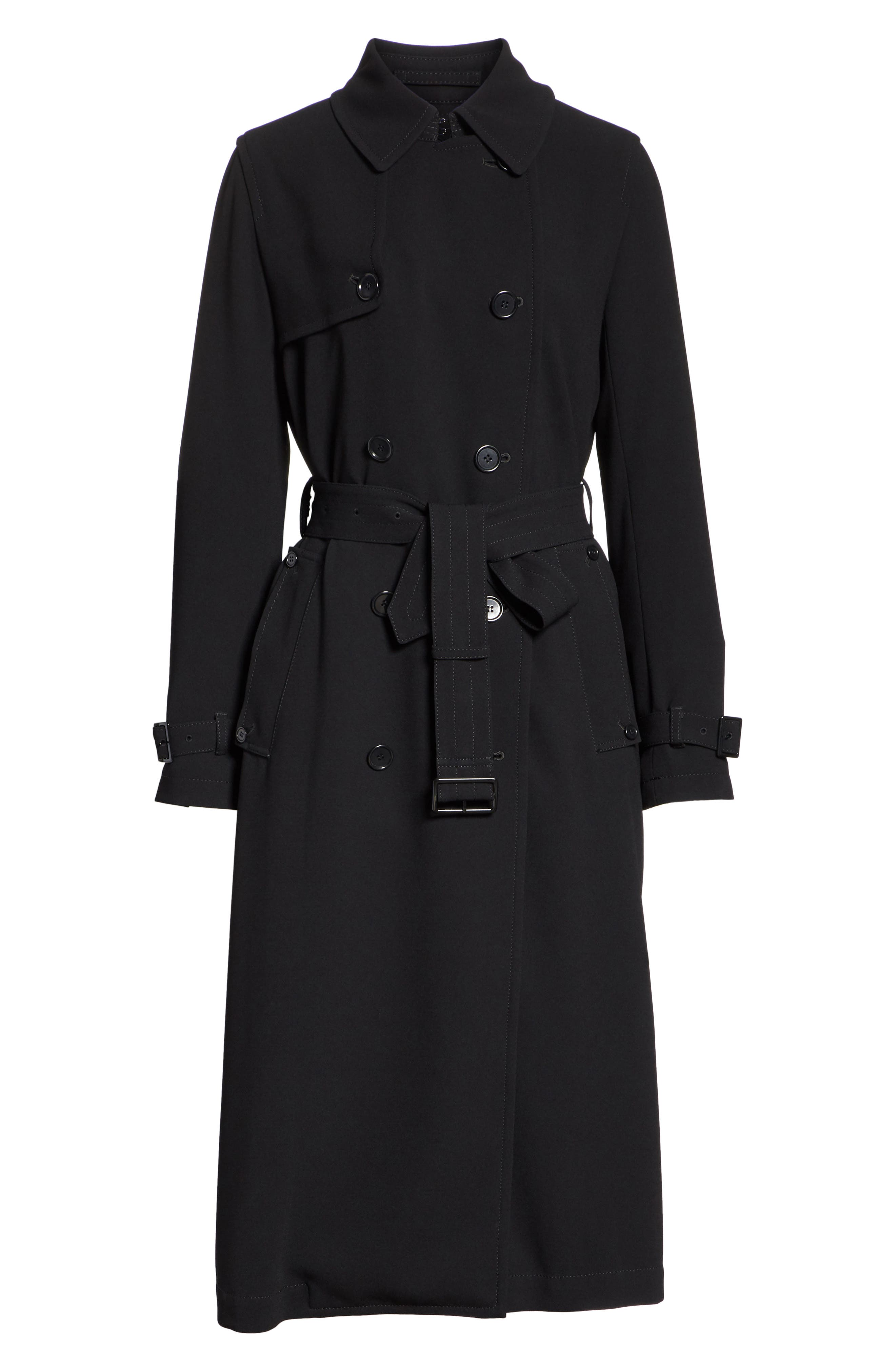 Double Breasted Coat,                             Alternate thumbnail 7, color,                             Black