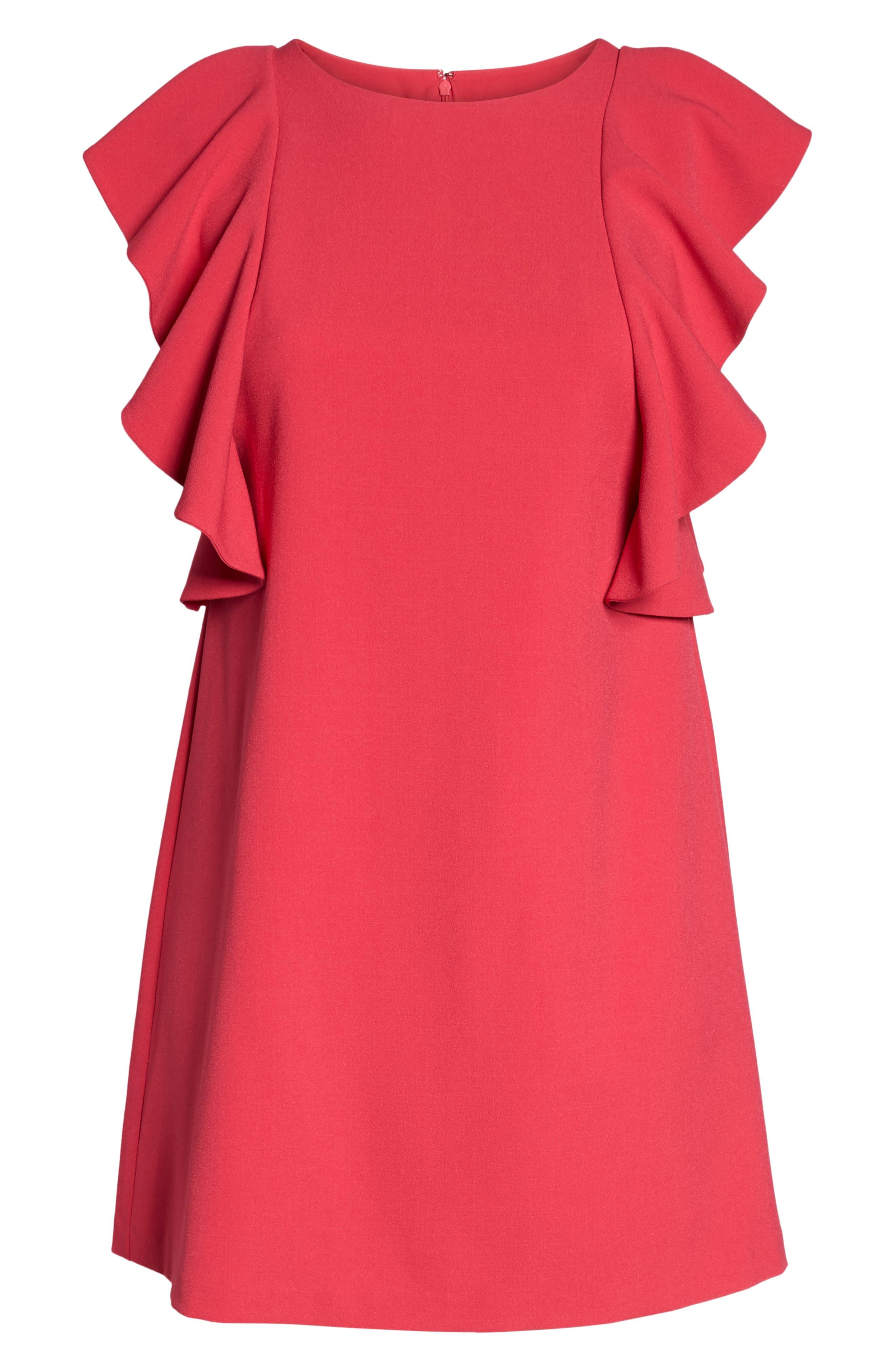 Flutter Sleeve Shift Dress,                             Alternate thumbnail 6, color,                             Pink Rose