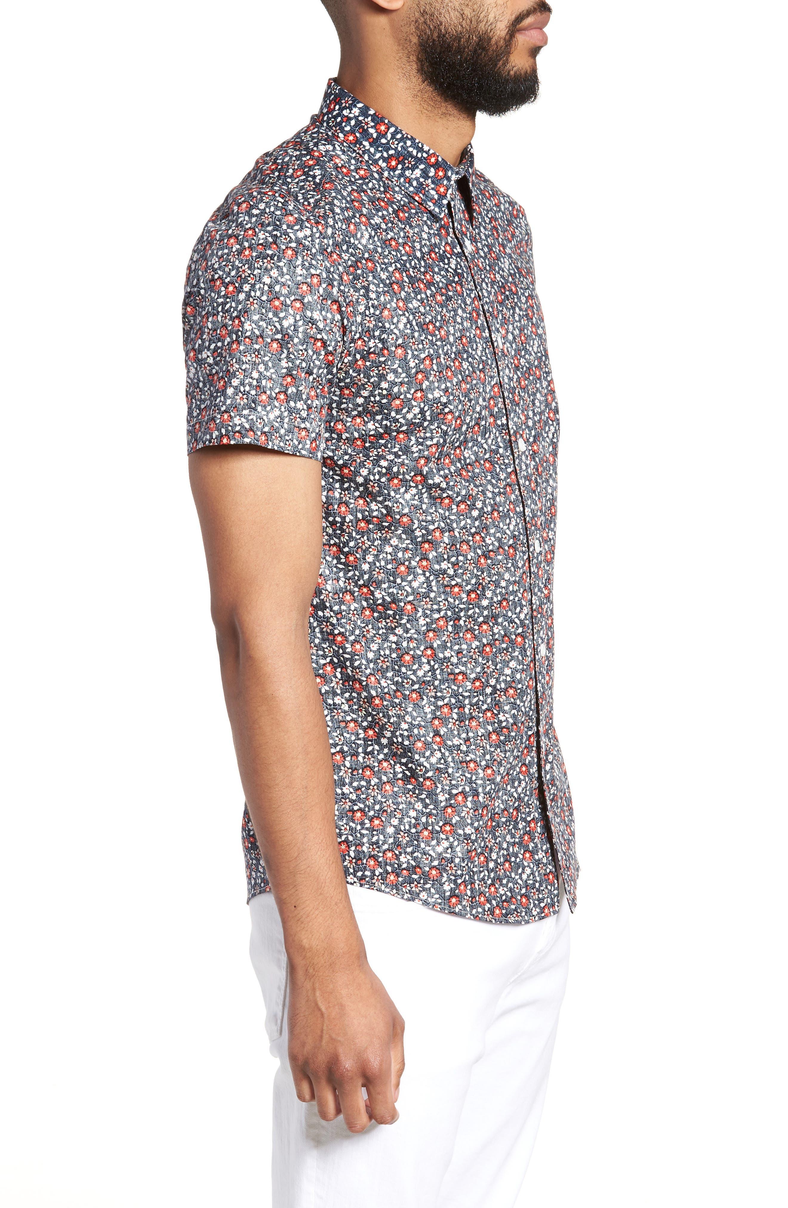 Trim Fit Print Woven Short Sleeve Shirt,                             Alternate thumbnail 3, color,                             Navy Floral