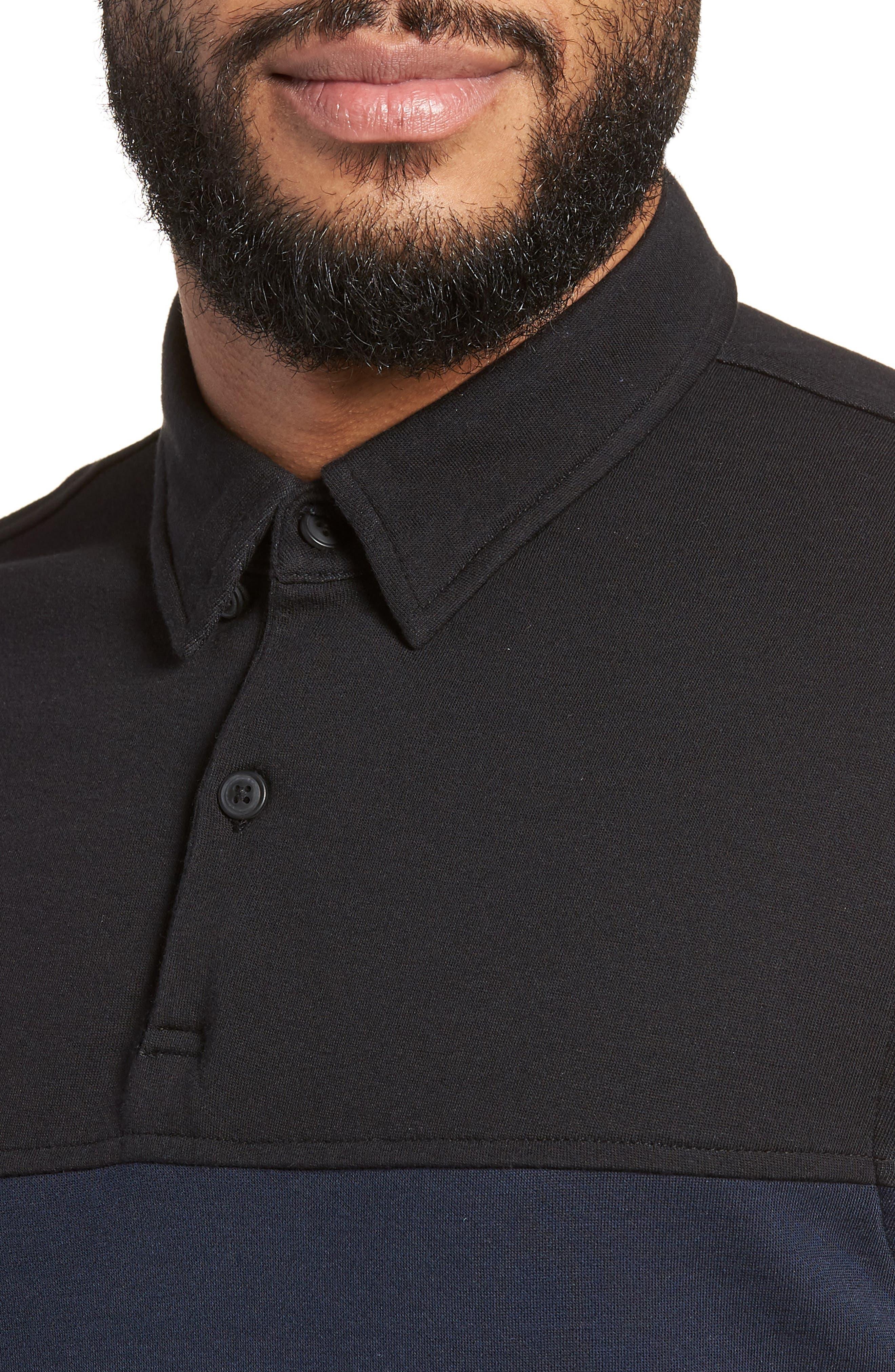 Trim Fit Colorblock Short Sleeve Polo,                             Alternate thumbnail 4, color,                             Navy Black