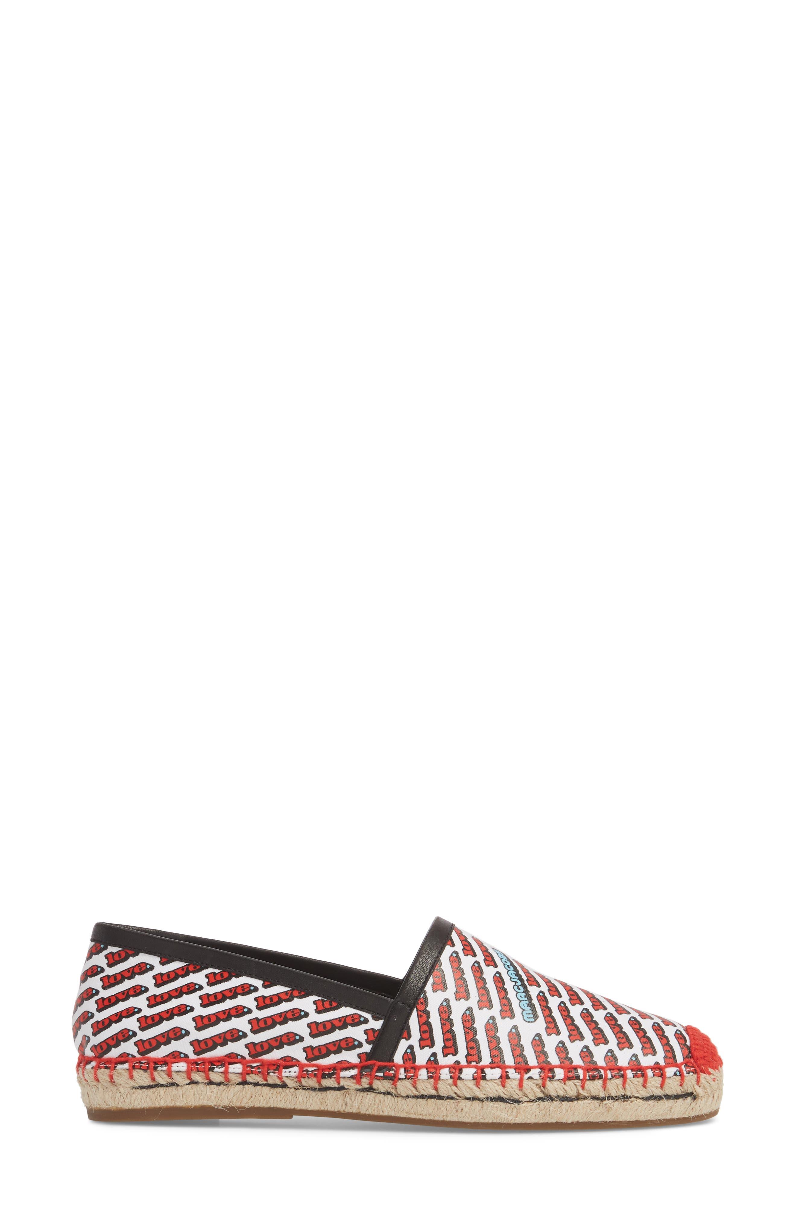 'Sienna' Espadrille Flat,                             Alternate thumbnail 3, color,                             White Multi