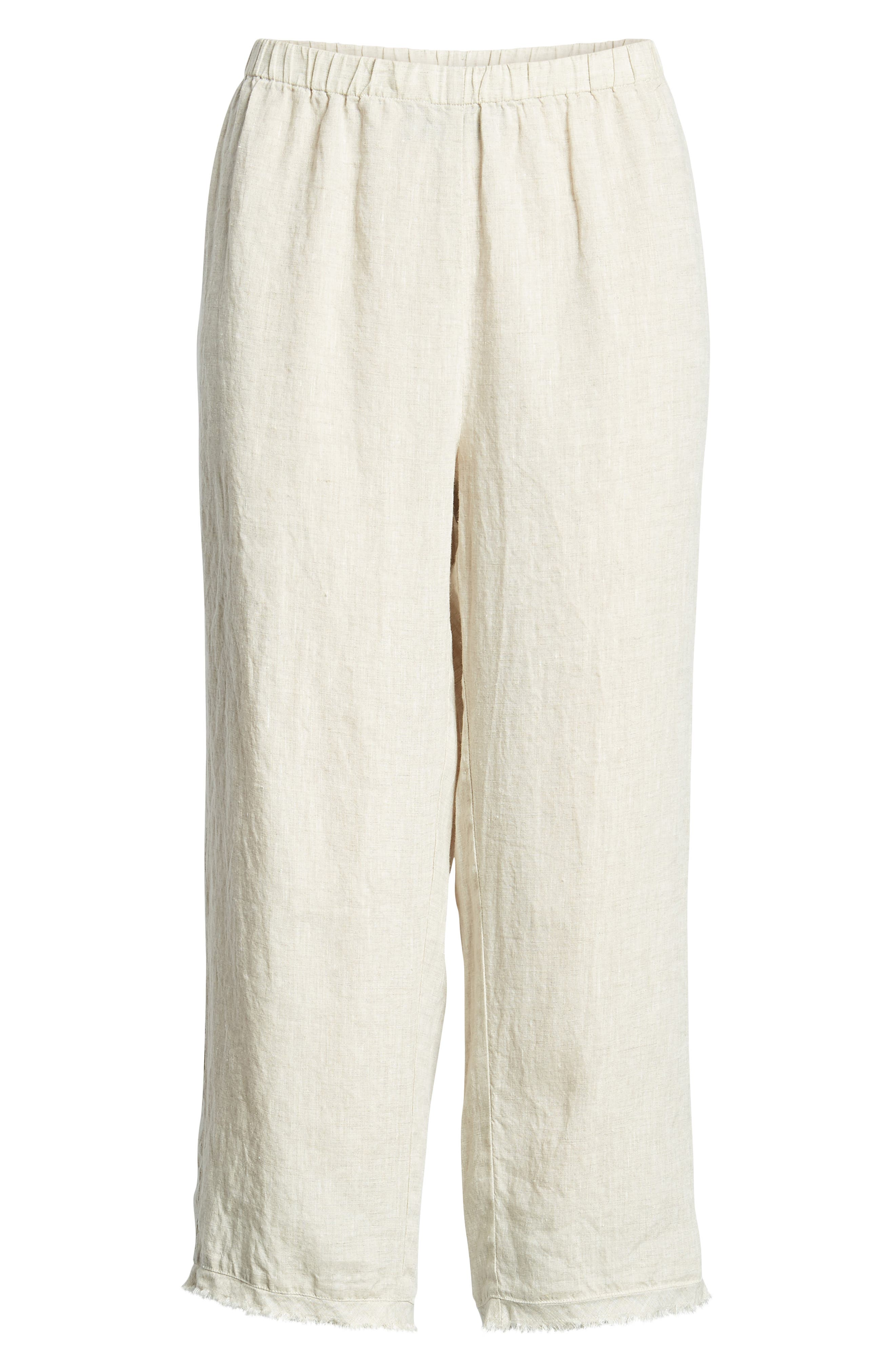 Crop Straight Leg Linen Pants,                             Alternate thumbnail 7, color,                             Natural