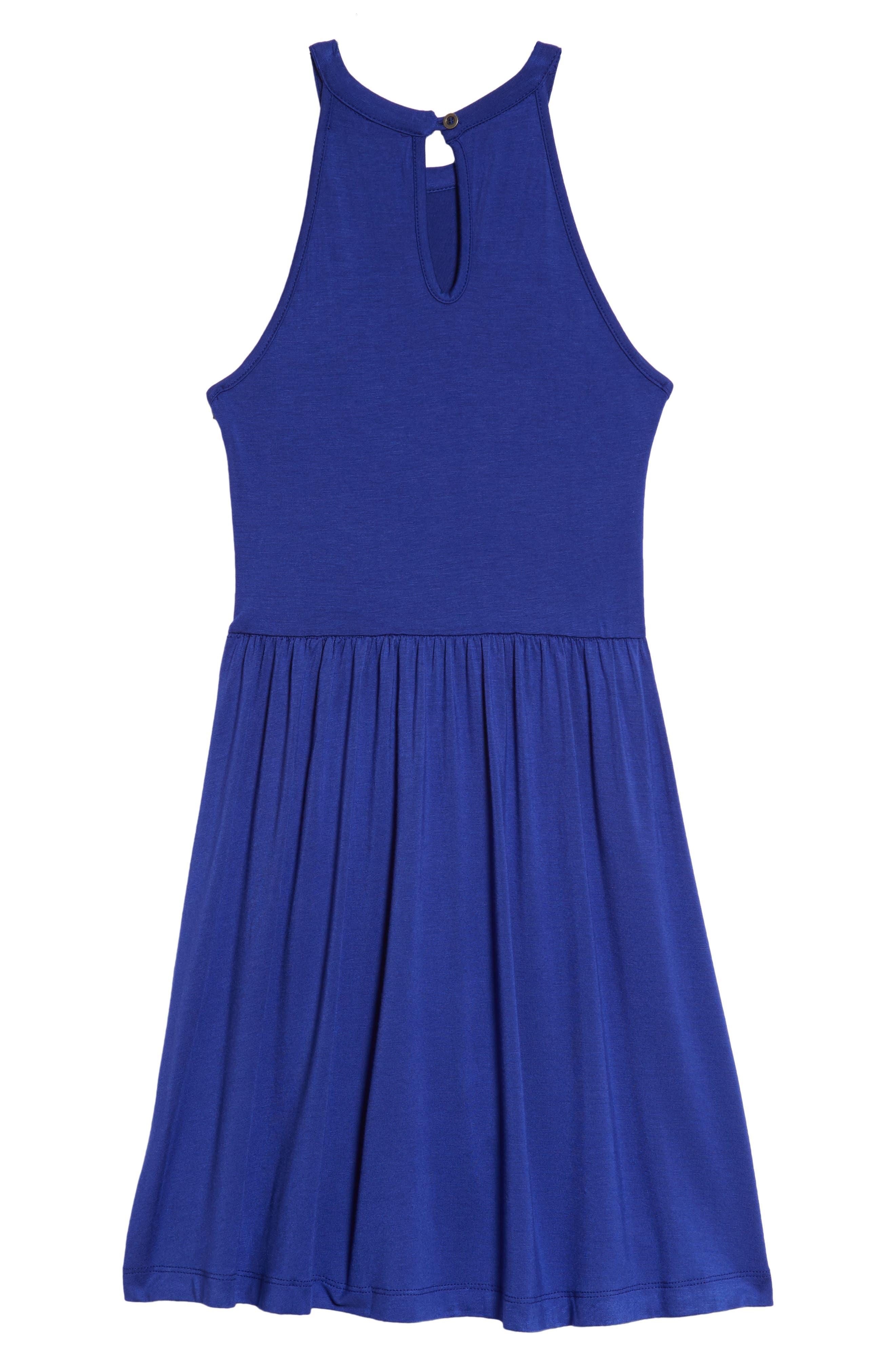 Good Luck Gem Knit Halter Cage Skater Dress,                             Alternate thumbnail 2, color,                             Royal