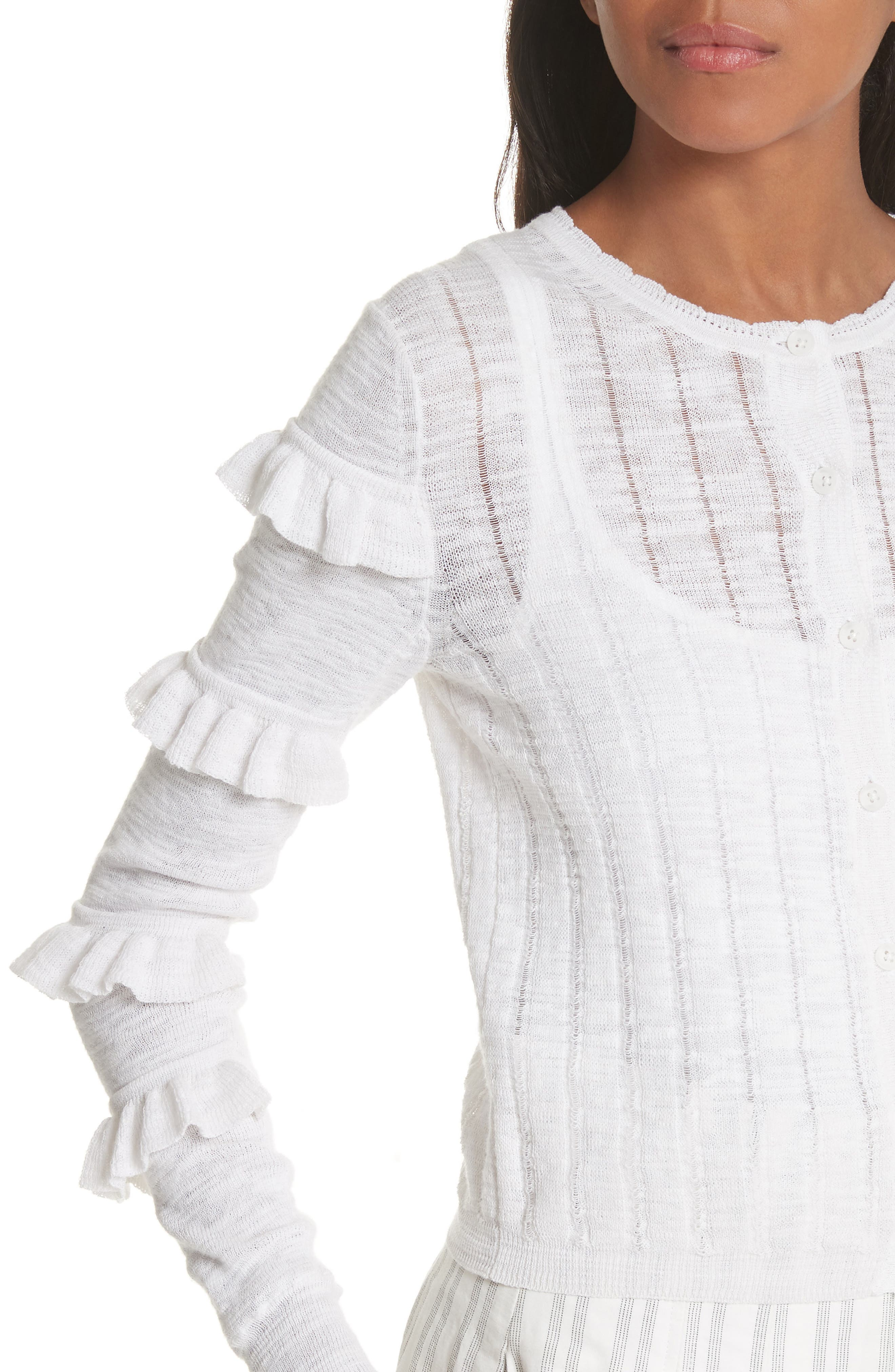 Tiered Ruffle Sleeve Cotton Blend Cardigan,                             Alternate thumbnail 4, color,                             Snow