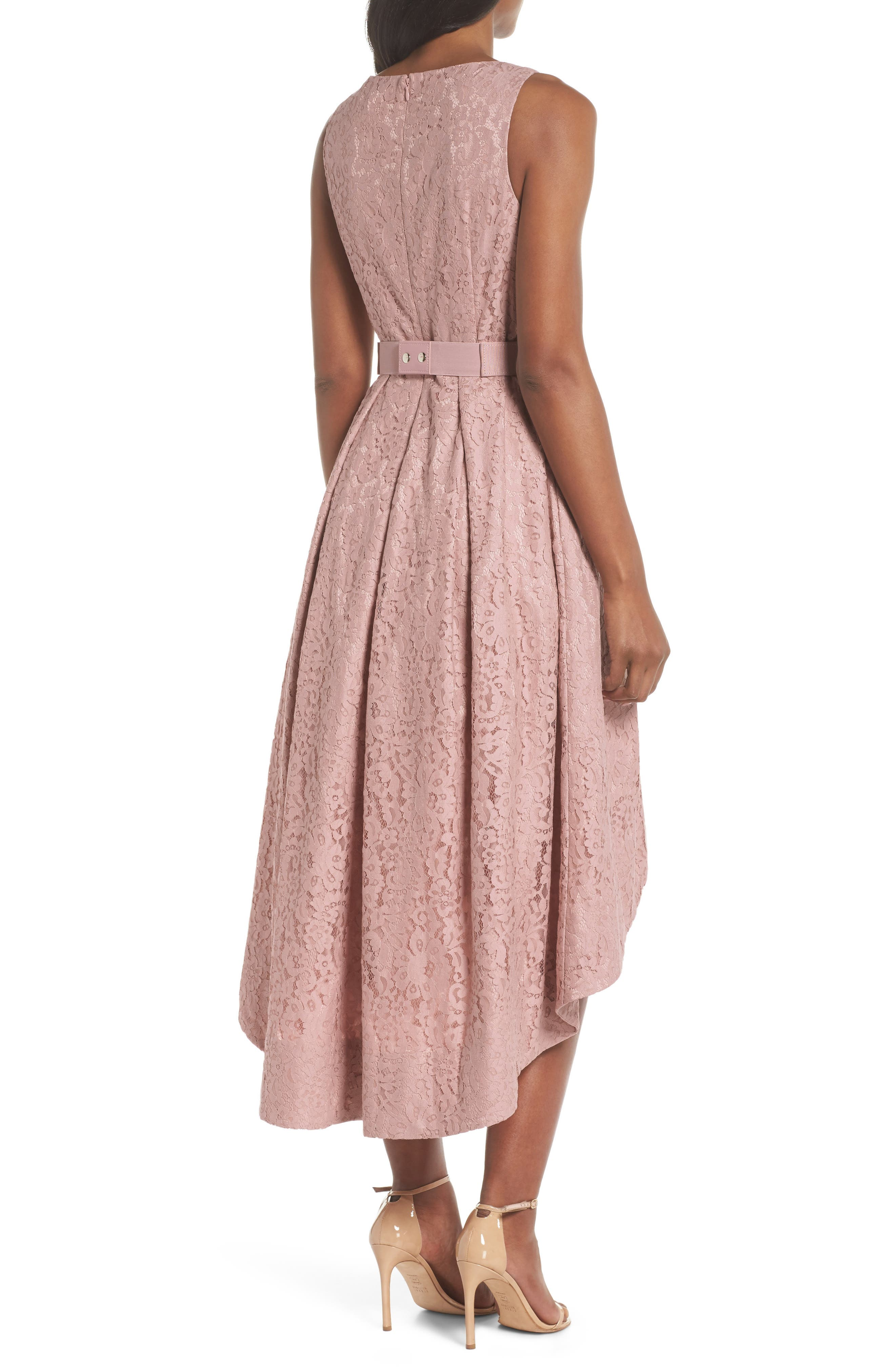 Belted Lace High/Low Dress,                             Alternate thumbnail 2, color,                             Blush