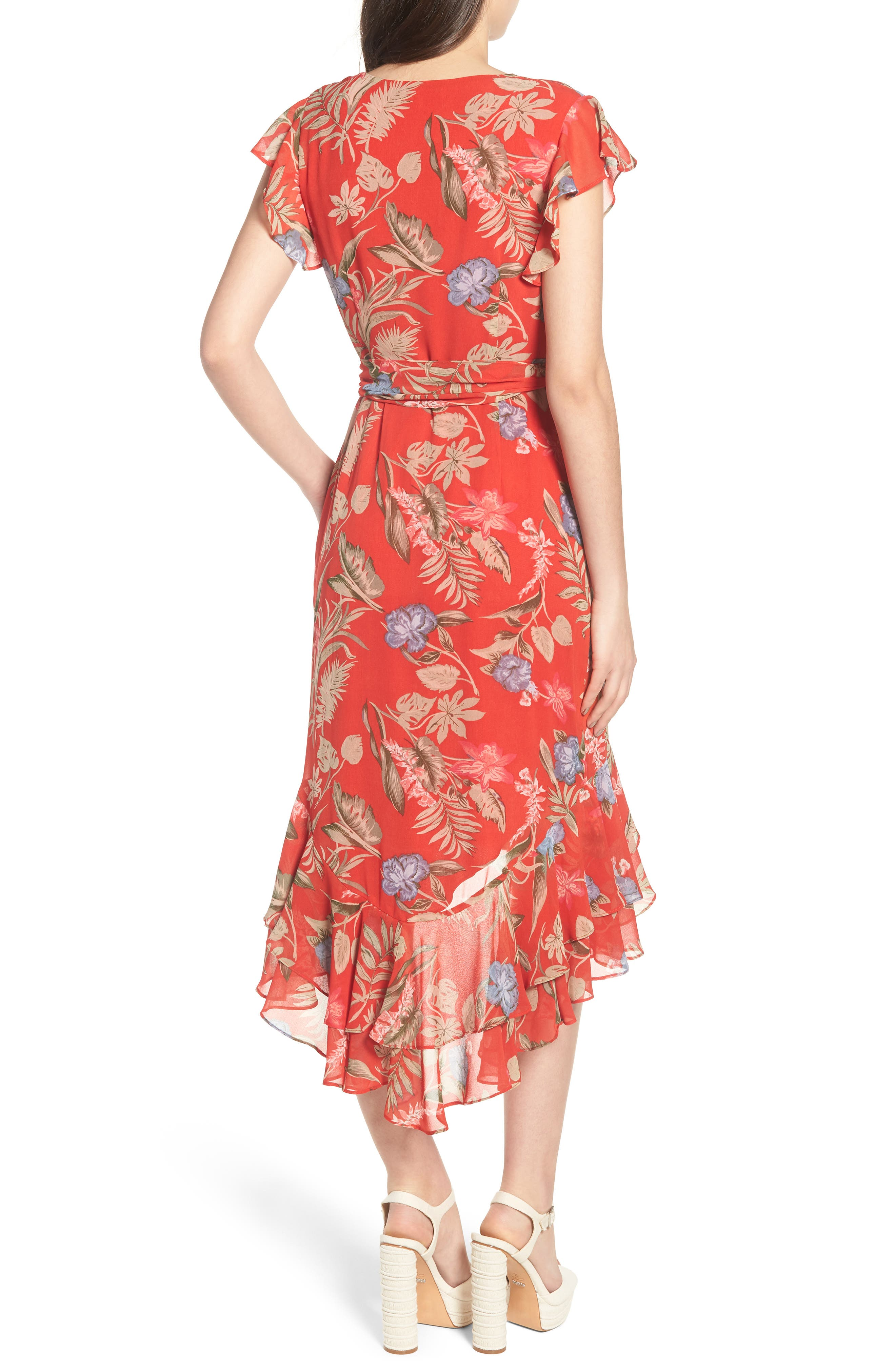 Clara Ruffle Wrap Dress,                             Alternate thumbnail 2, color,                             Red Tropical